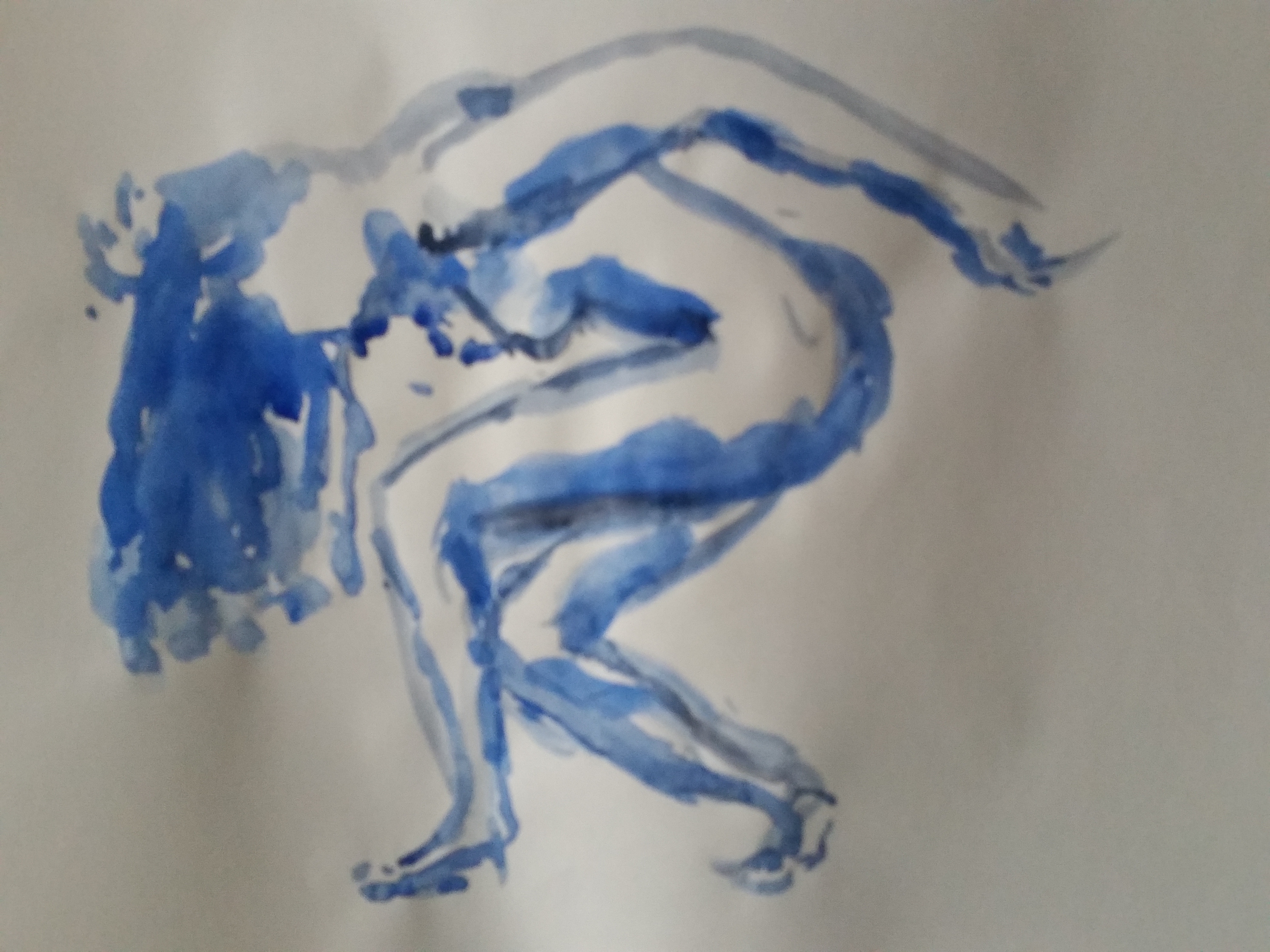 Dessin bleu aquarelle femme  cours de dessin