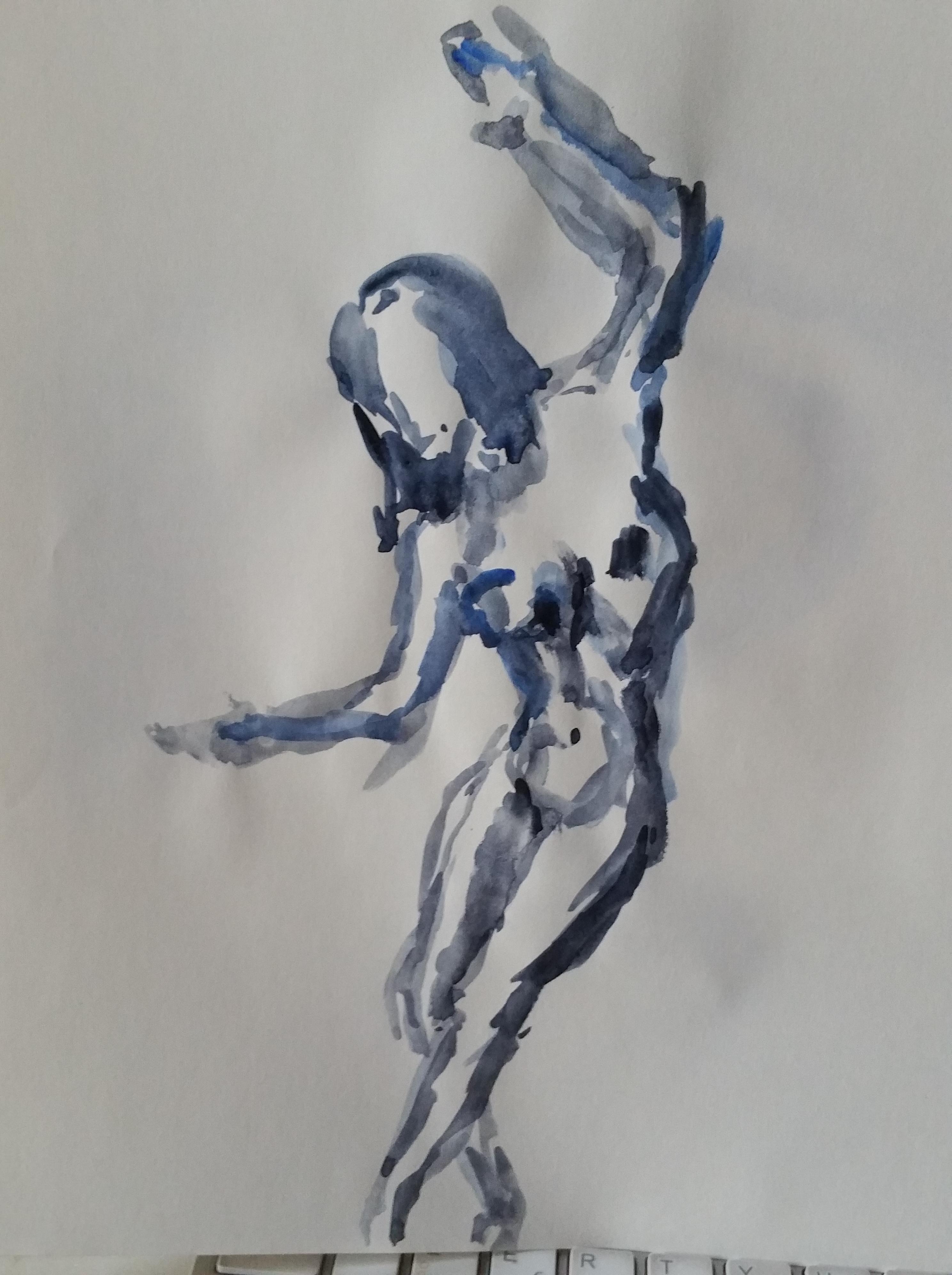 Danseuse aquarelles bleu et noir dessin sur papier  cours de dessin