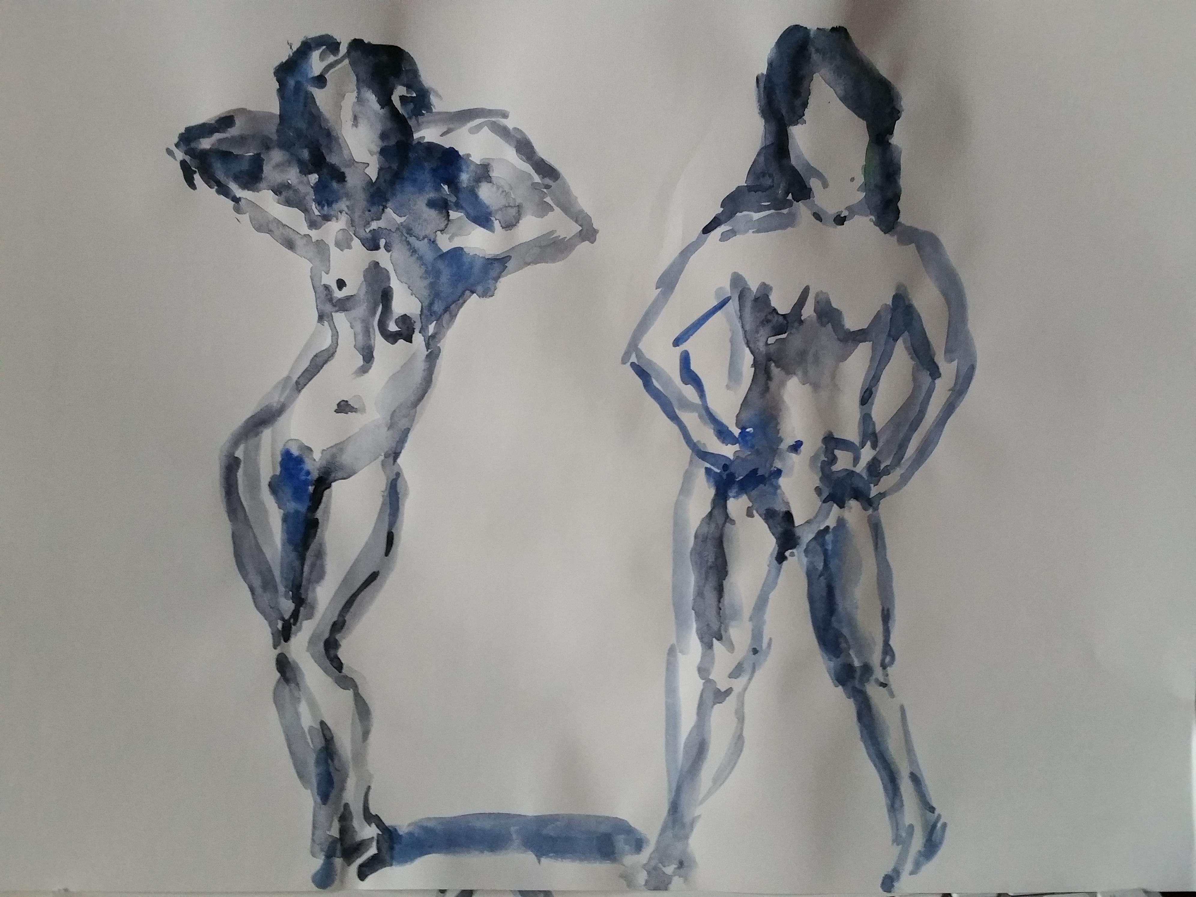 Dessin aquarelles polychrome gris-bleu femme en pied  cours de dessin