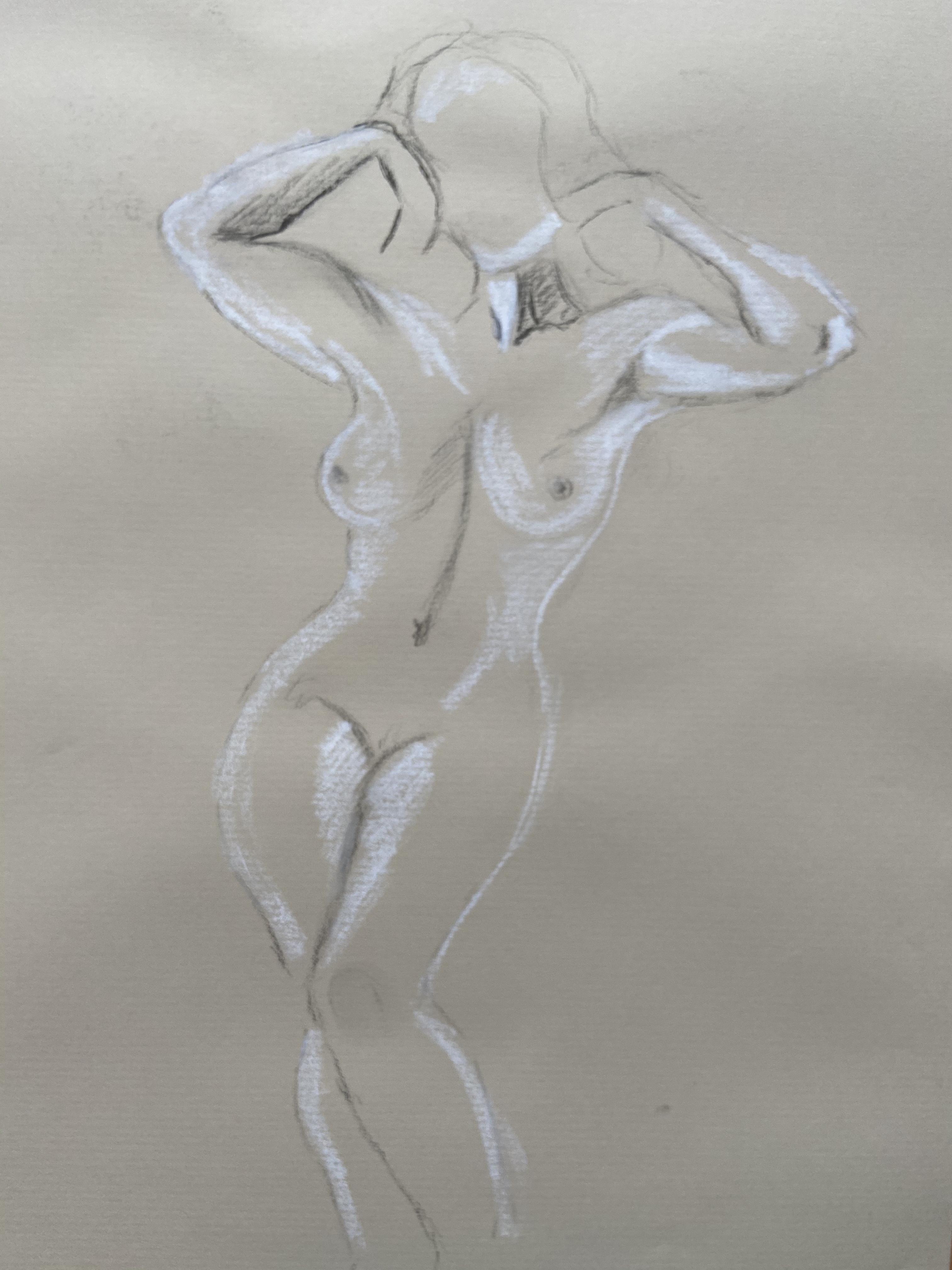 Dessin fusain craie blanche d�hanch� face mod�le vivant femme  cours de dessin
