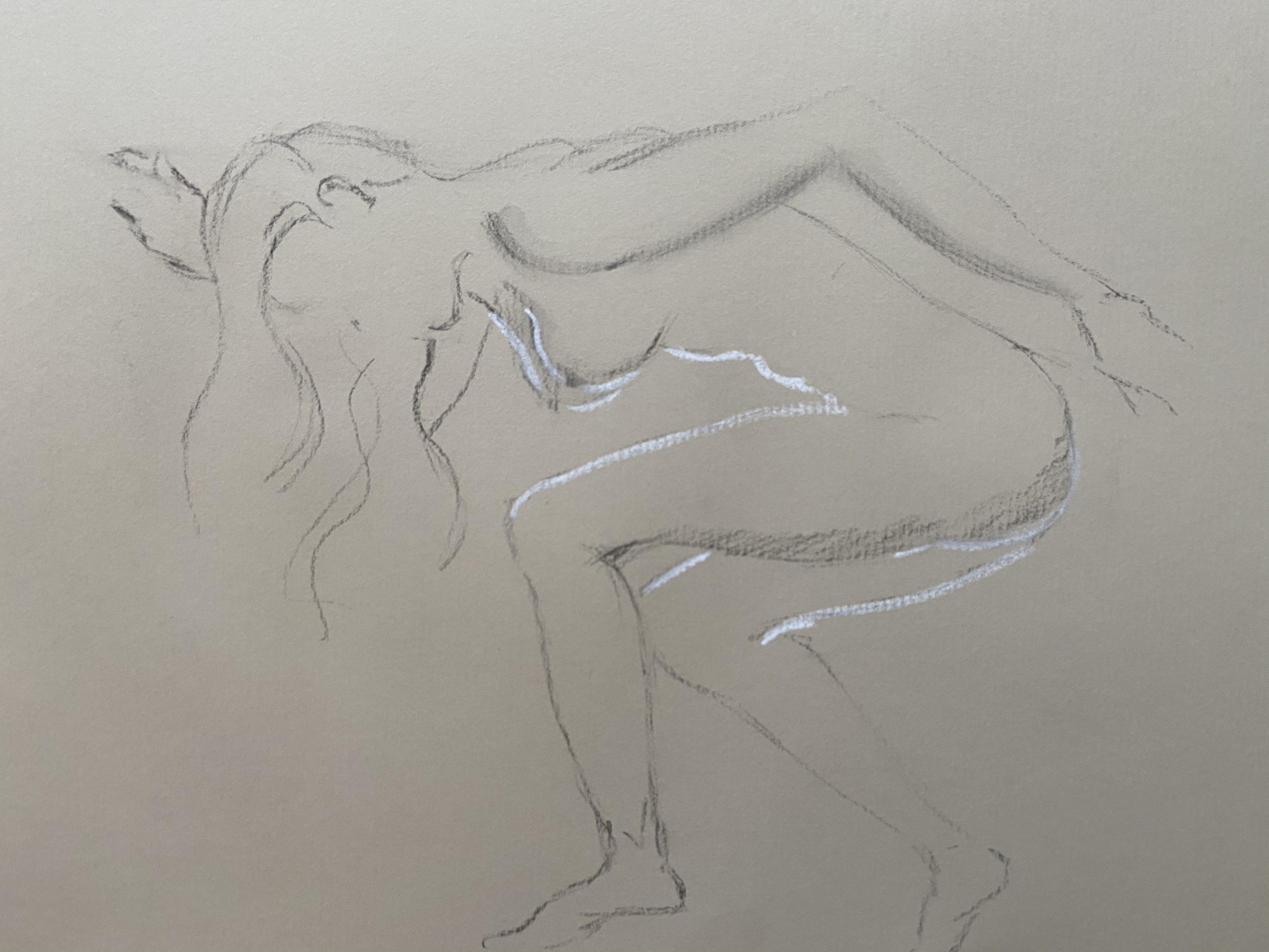 Ébauche dessin fusain sur papier Kraft rehausses craie blanches  cours de dessin