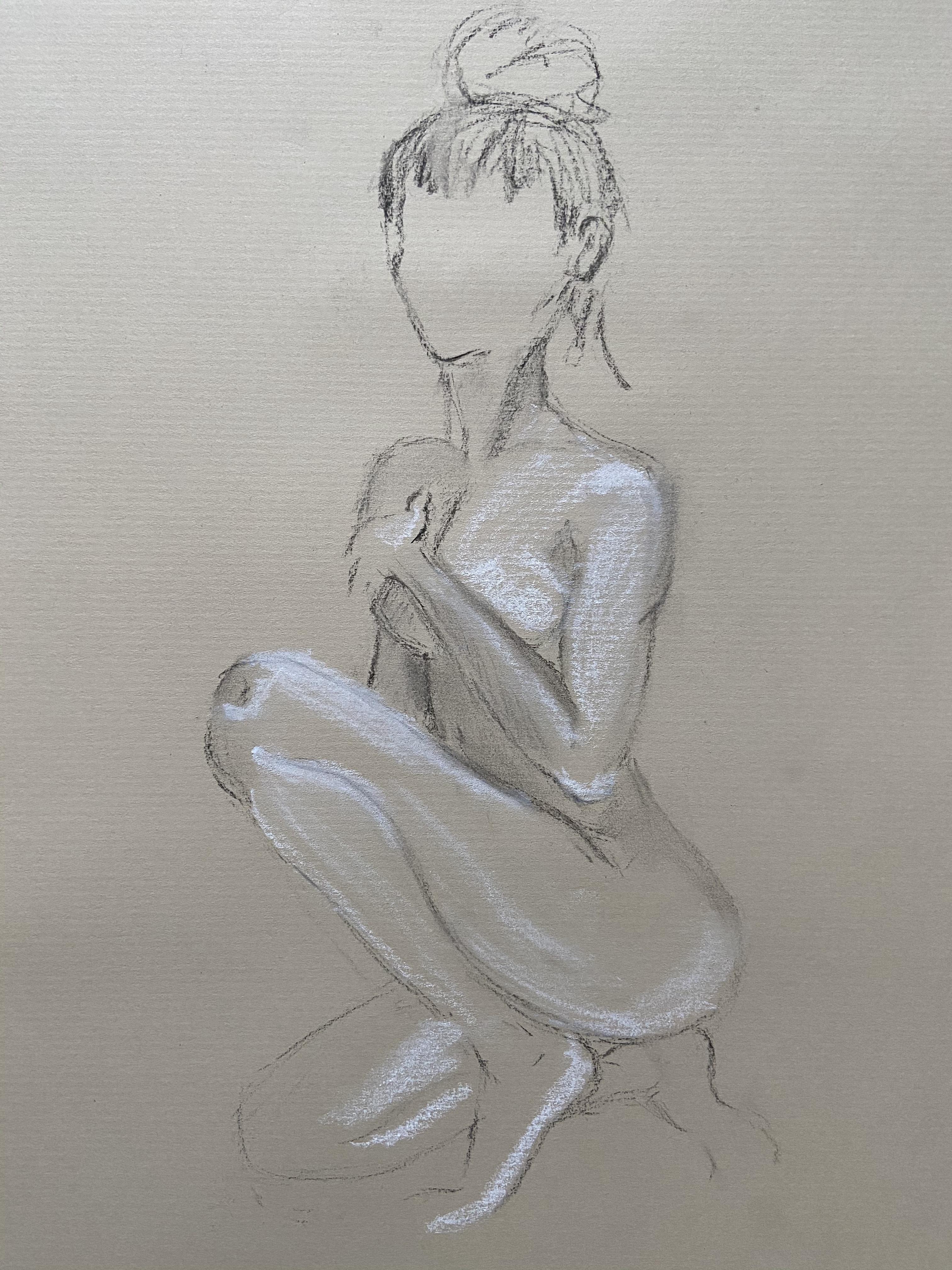 Dessin fusain craie blanche pose assise trois quarts face femme  cours de dessin