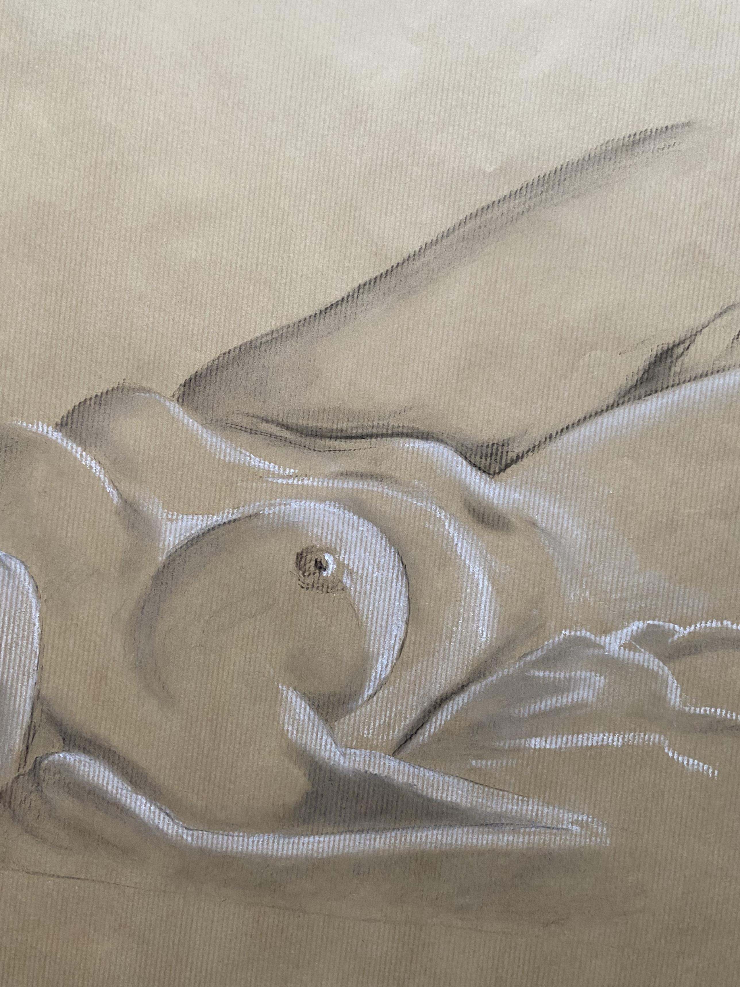 Dessin perspectives torse femme fusain craie blanche sur papier Kraft  cours de dessin