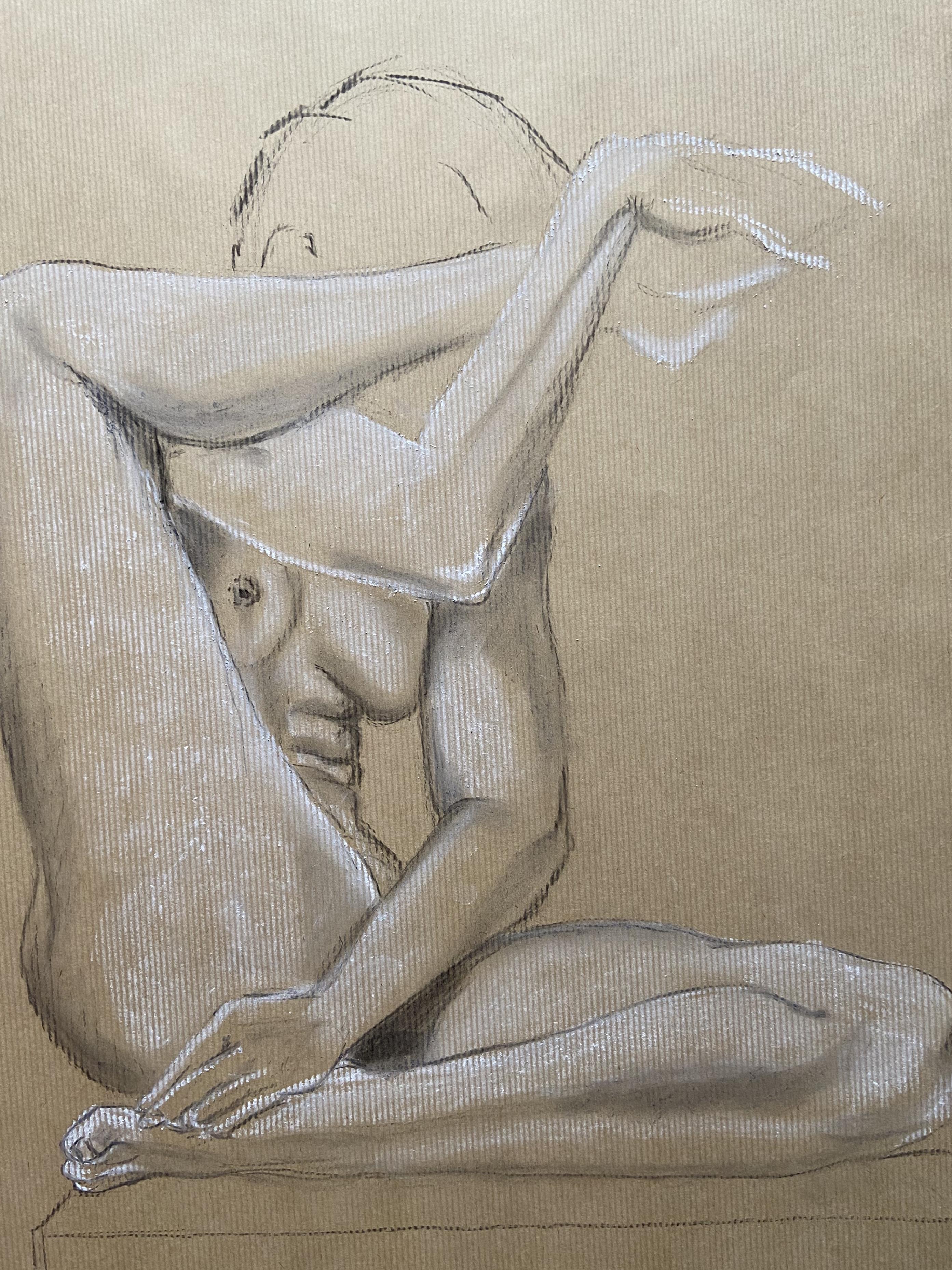 Dessin femme assise crayon papier fusain craie blanche sur papier Kraft  cours de dessin
