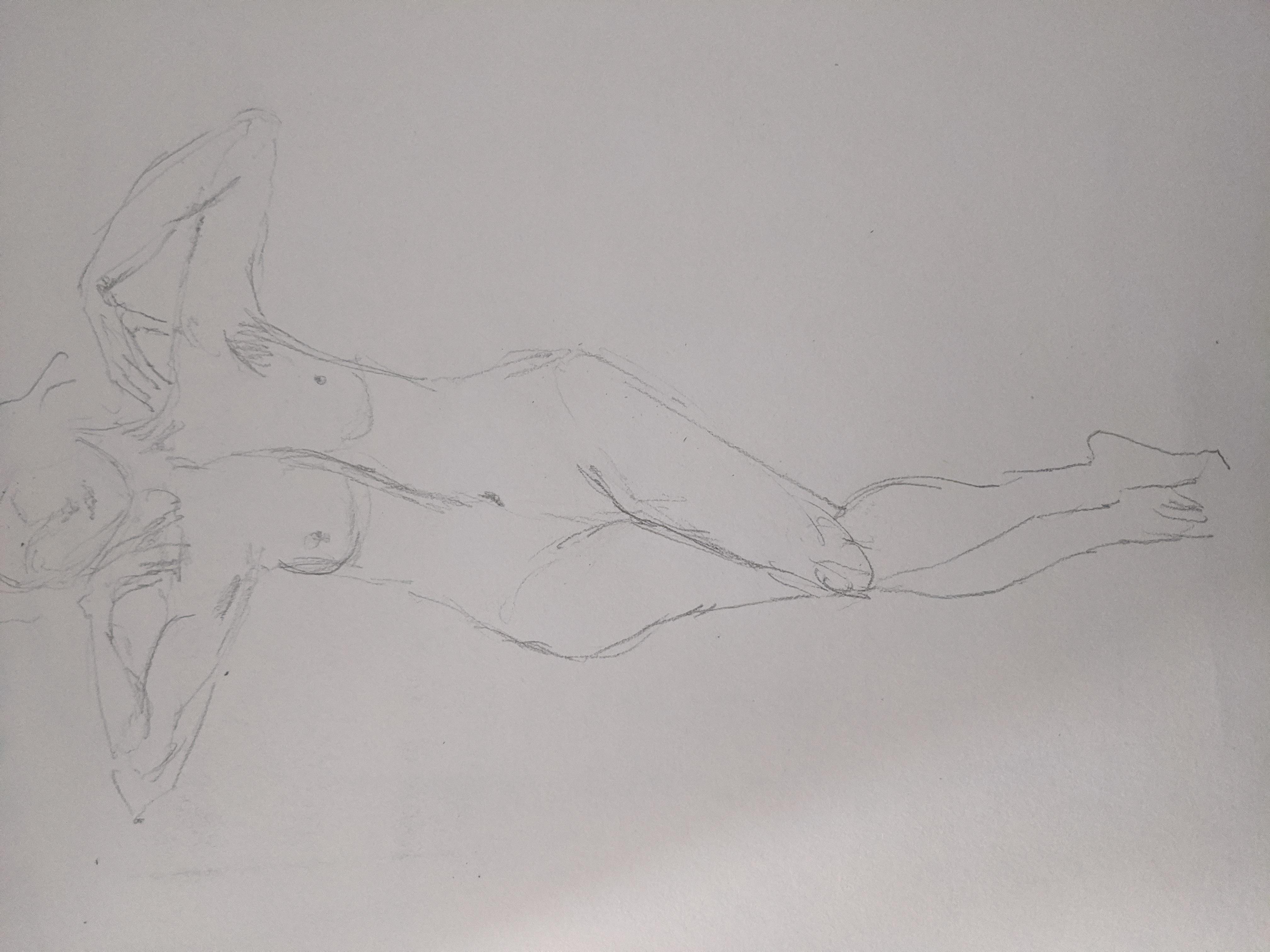 Dessin rapide déhanché face crayon de papier modèle vivant femme  cours de dessin