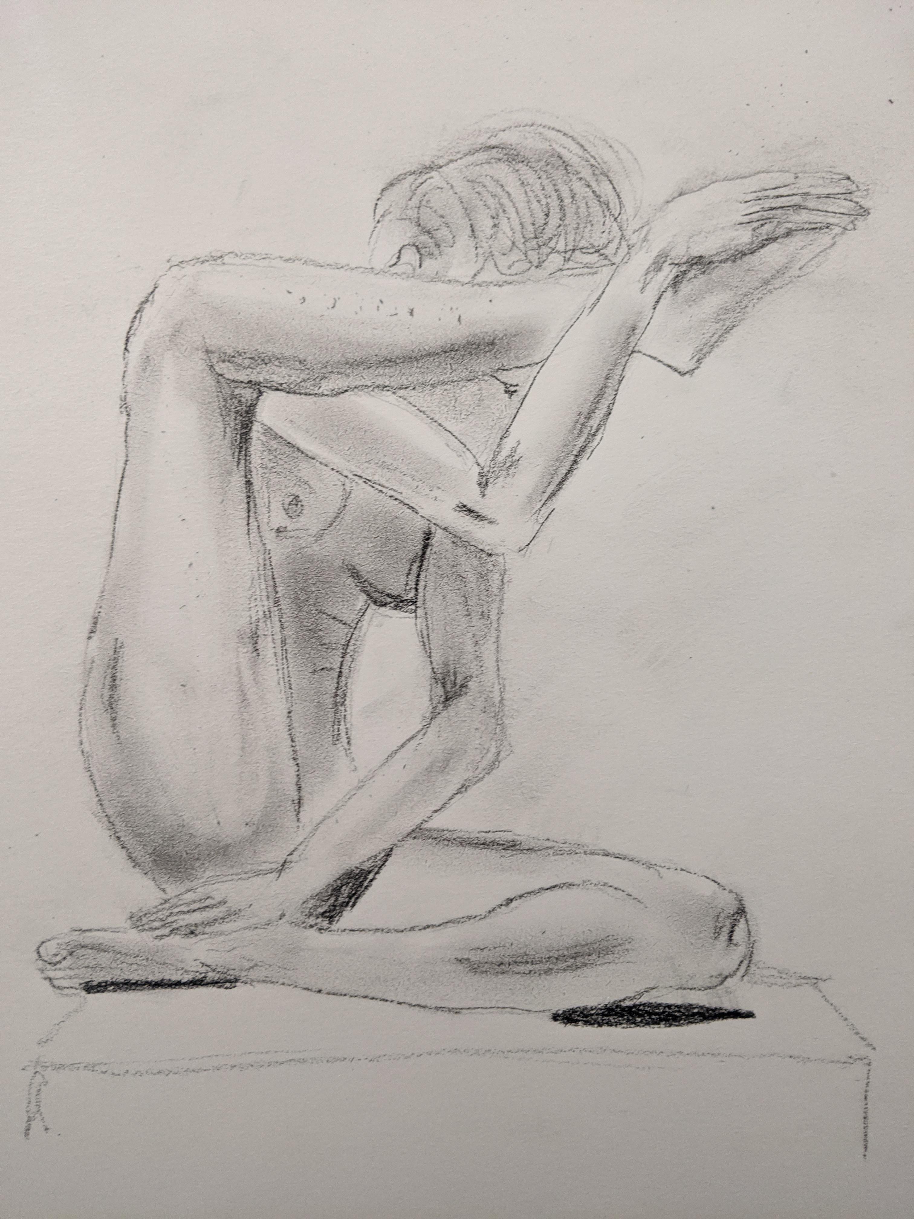 Dessin pierre noir trois quarts face assis mod�le vivant  cours de dessin