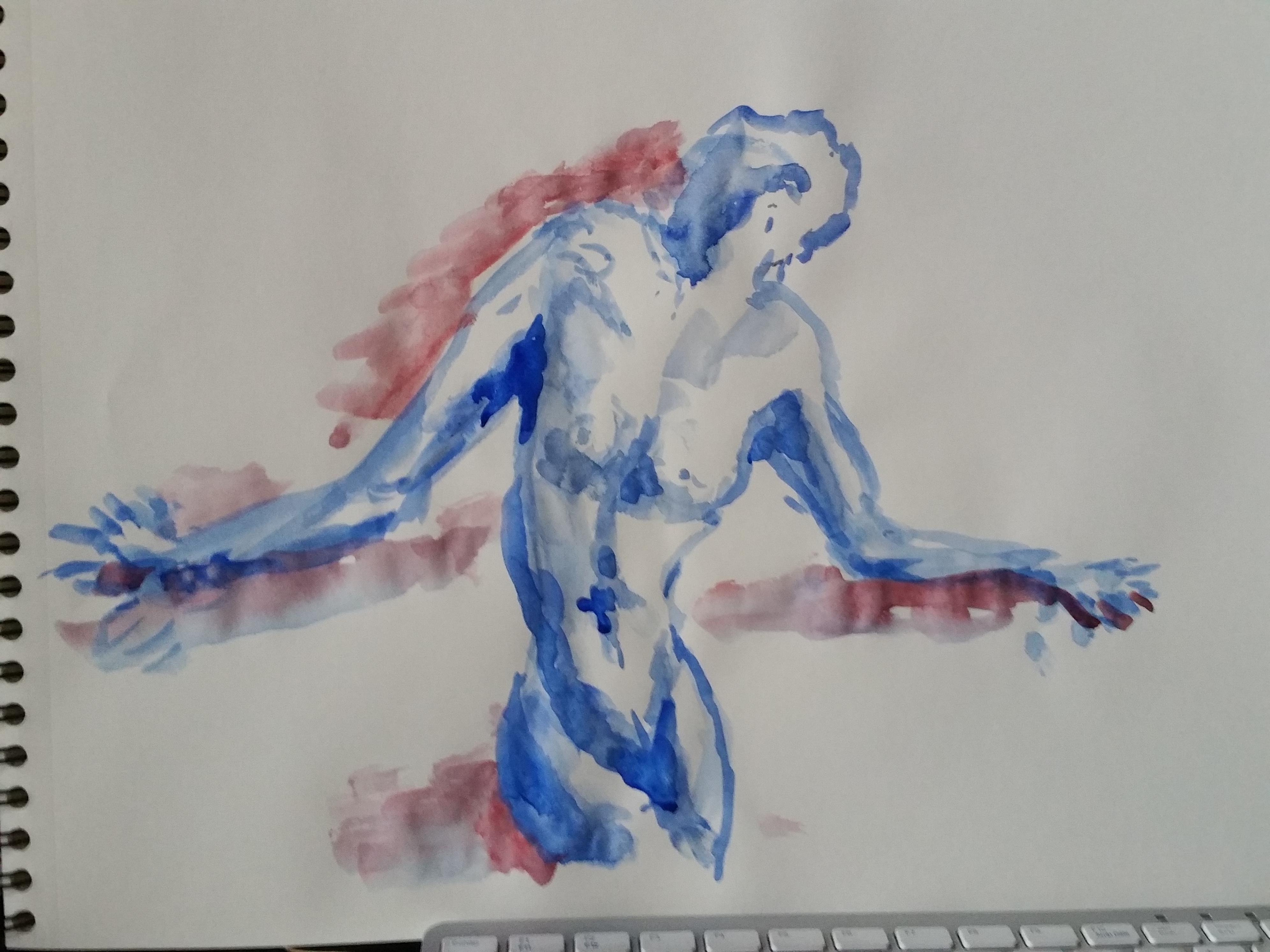 Aquarelle bleu et rouge modèle vivant face  cours de dessin