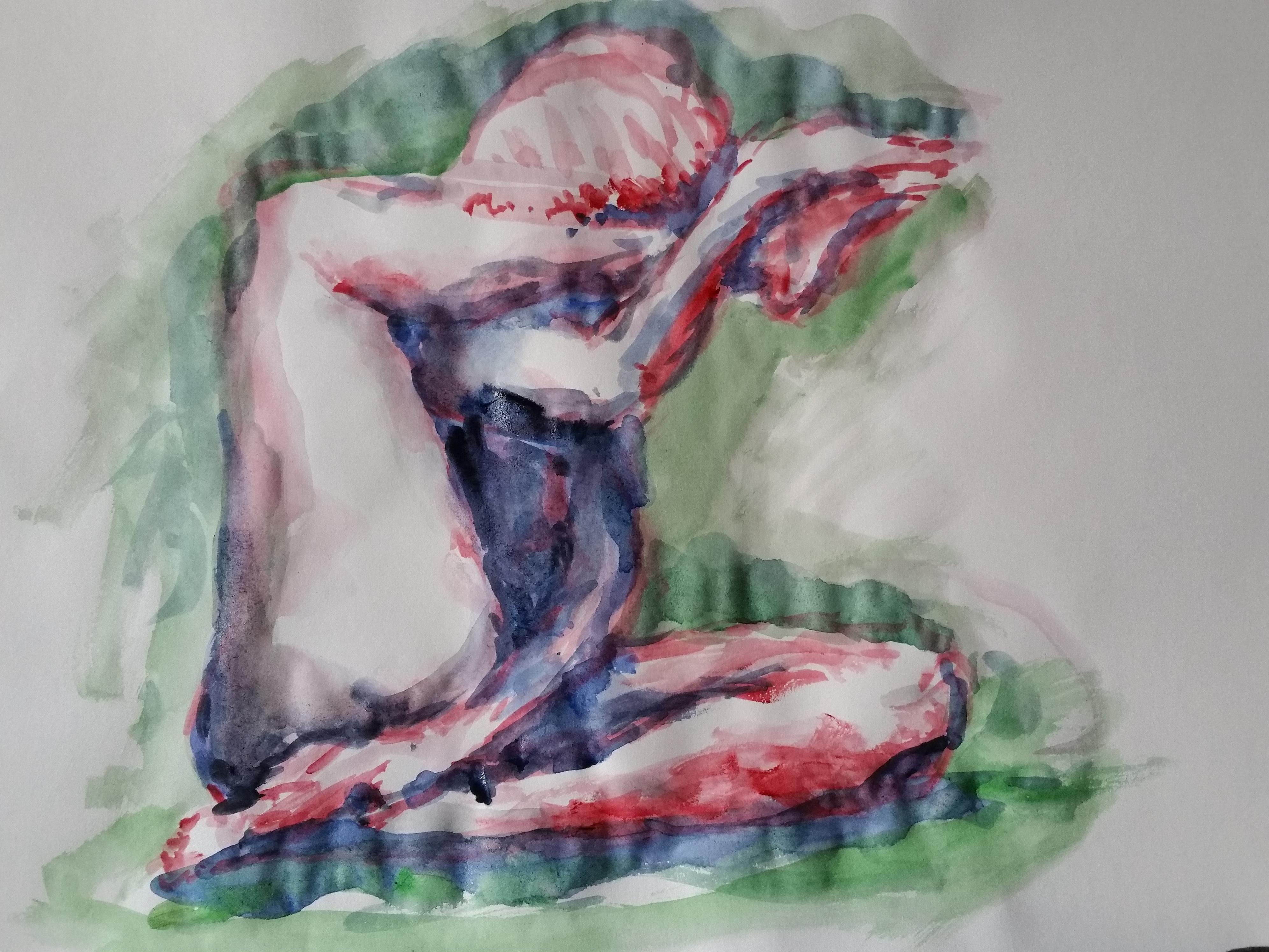 Aquarelle le rouge et vert modèle vivant assis  cours de dessin