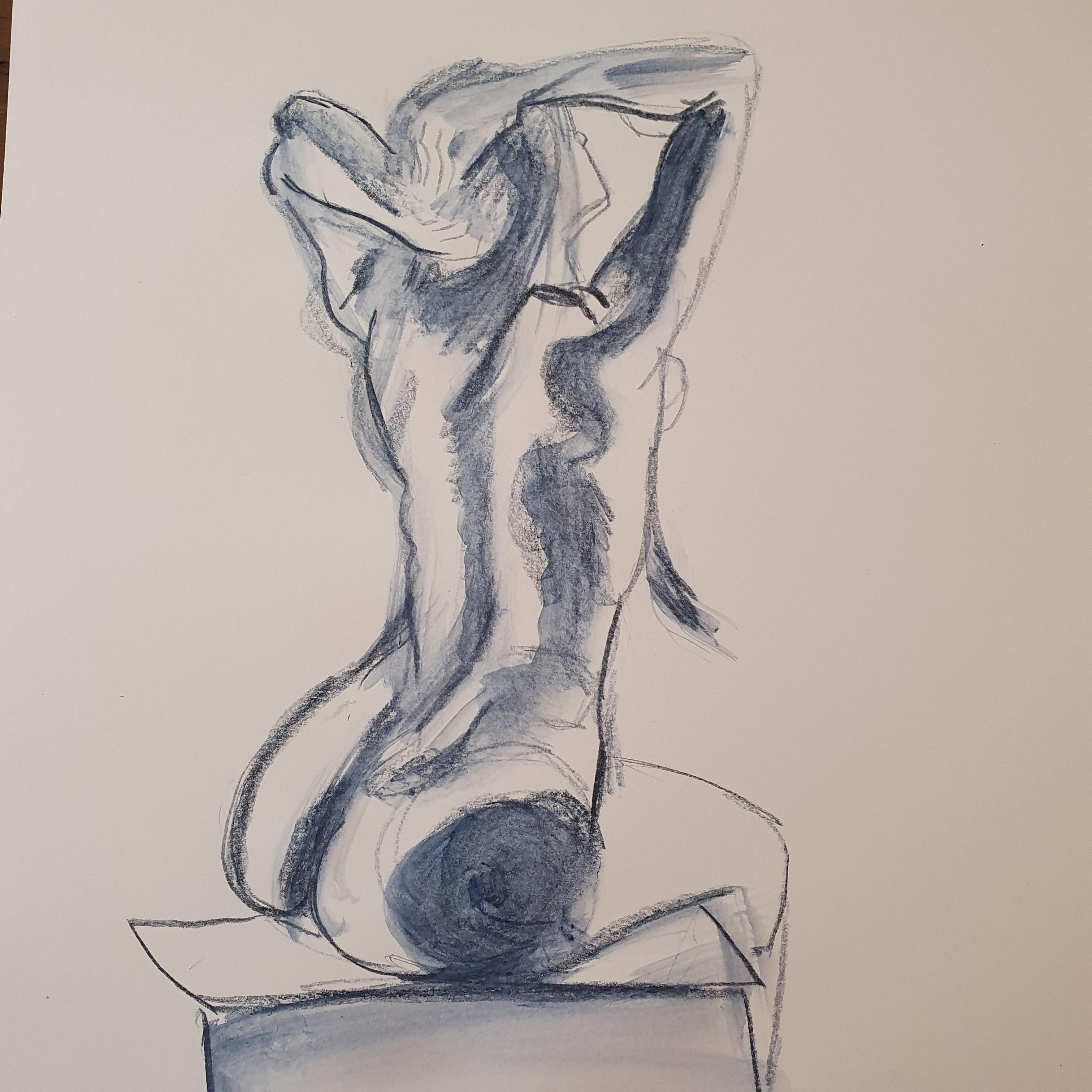 Technique mixte pastel aquarellesise crayon femme trois quarts dos assises  cours de dessin