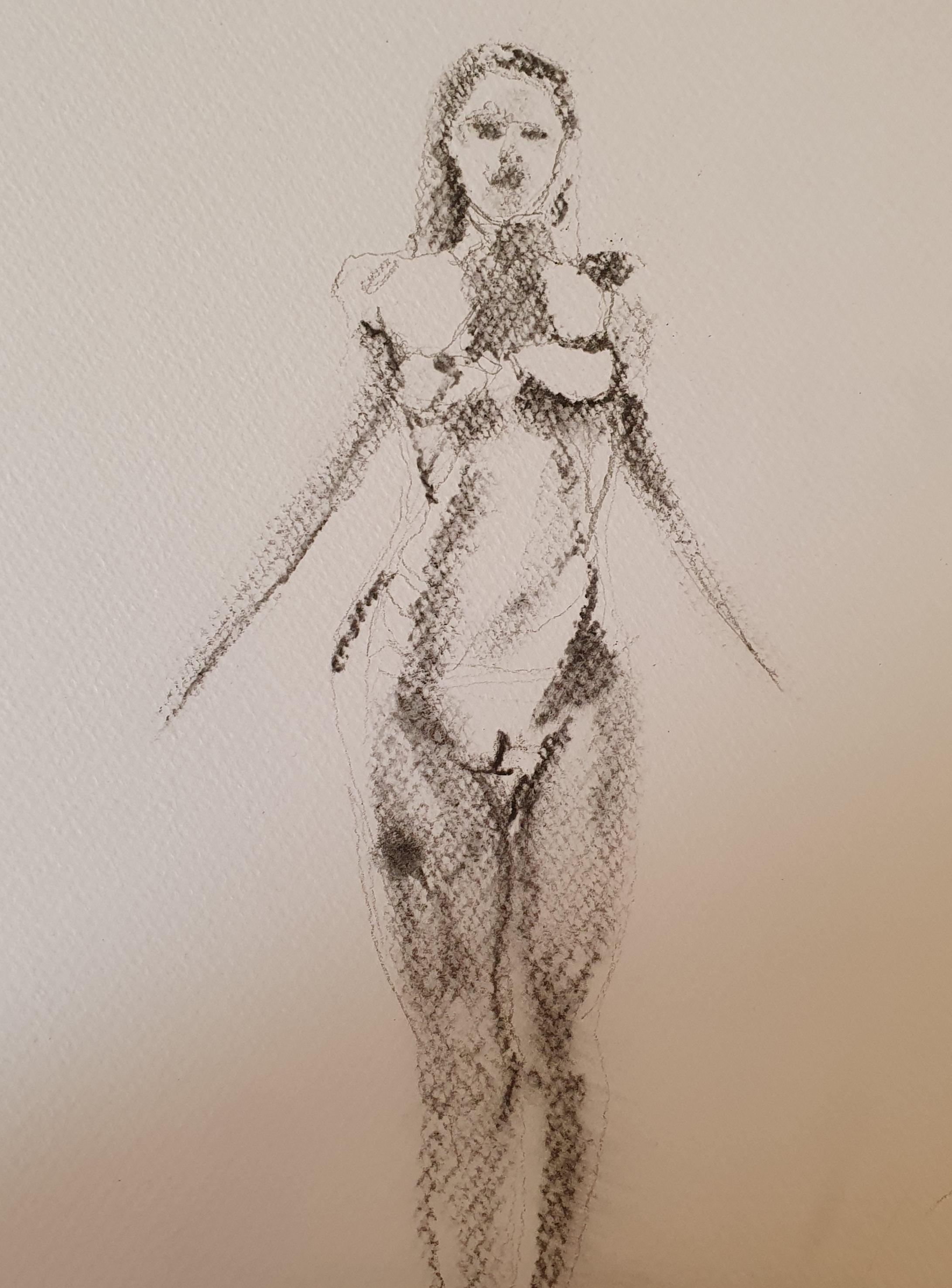 Dessin fusain papier Canson mi teintes femme face  cours de dessin