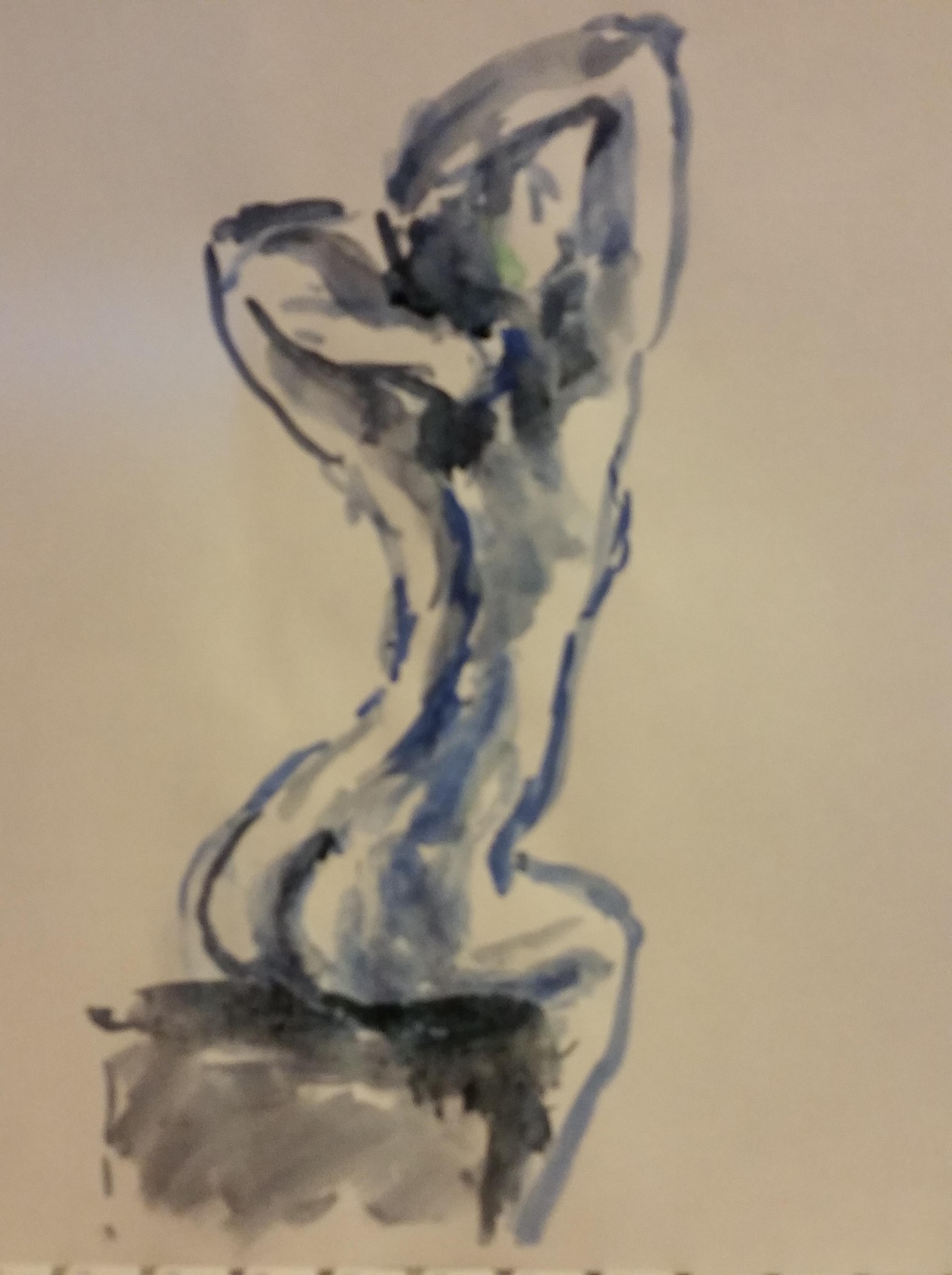Croquis aquarelles bleu et noir trois quarts d'eau assise  cours de dessin