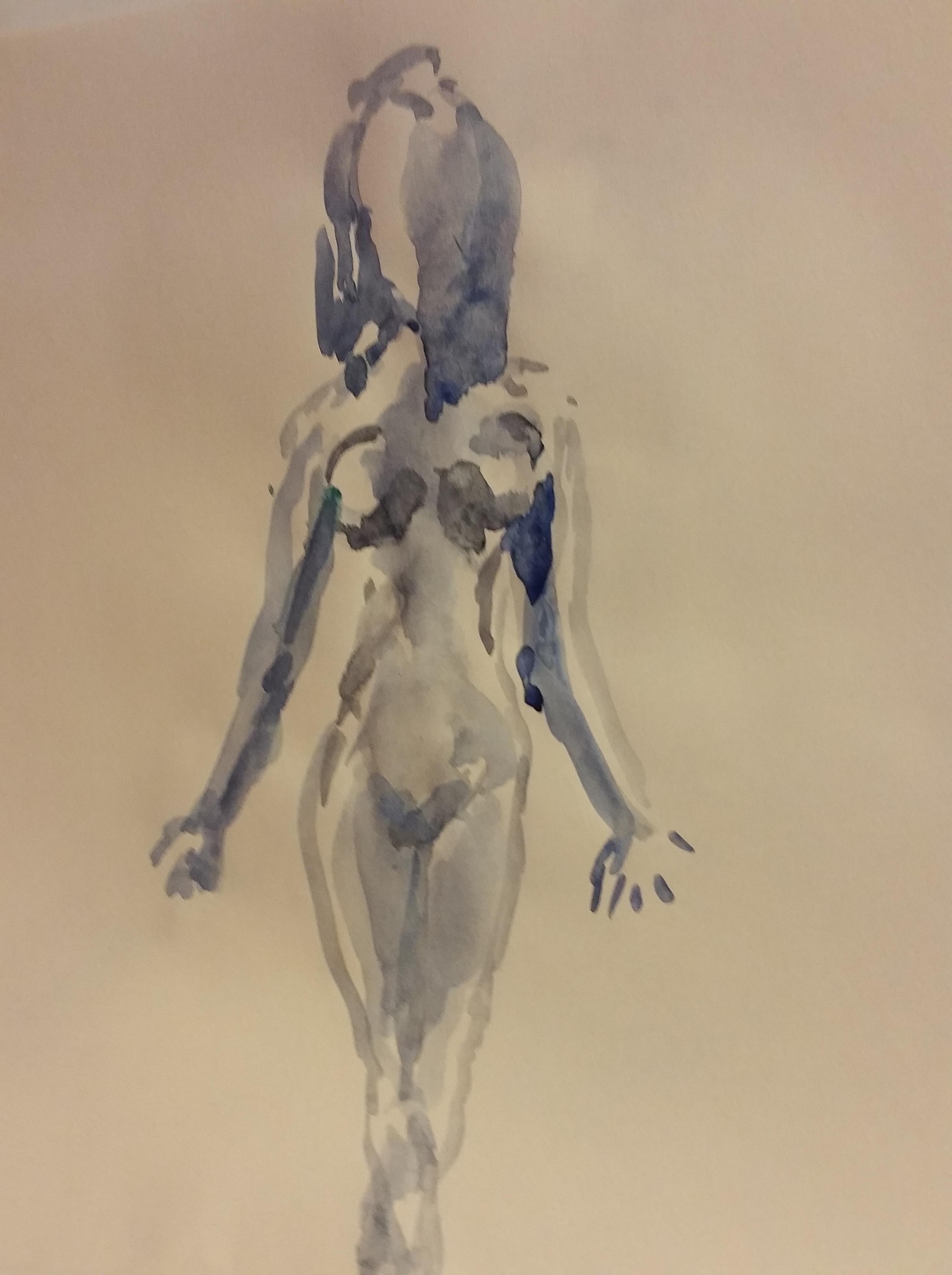 Dessin aquarelle bleu et noir femme face  cours de dessin