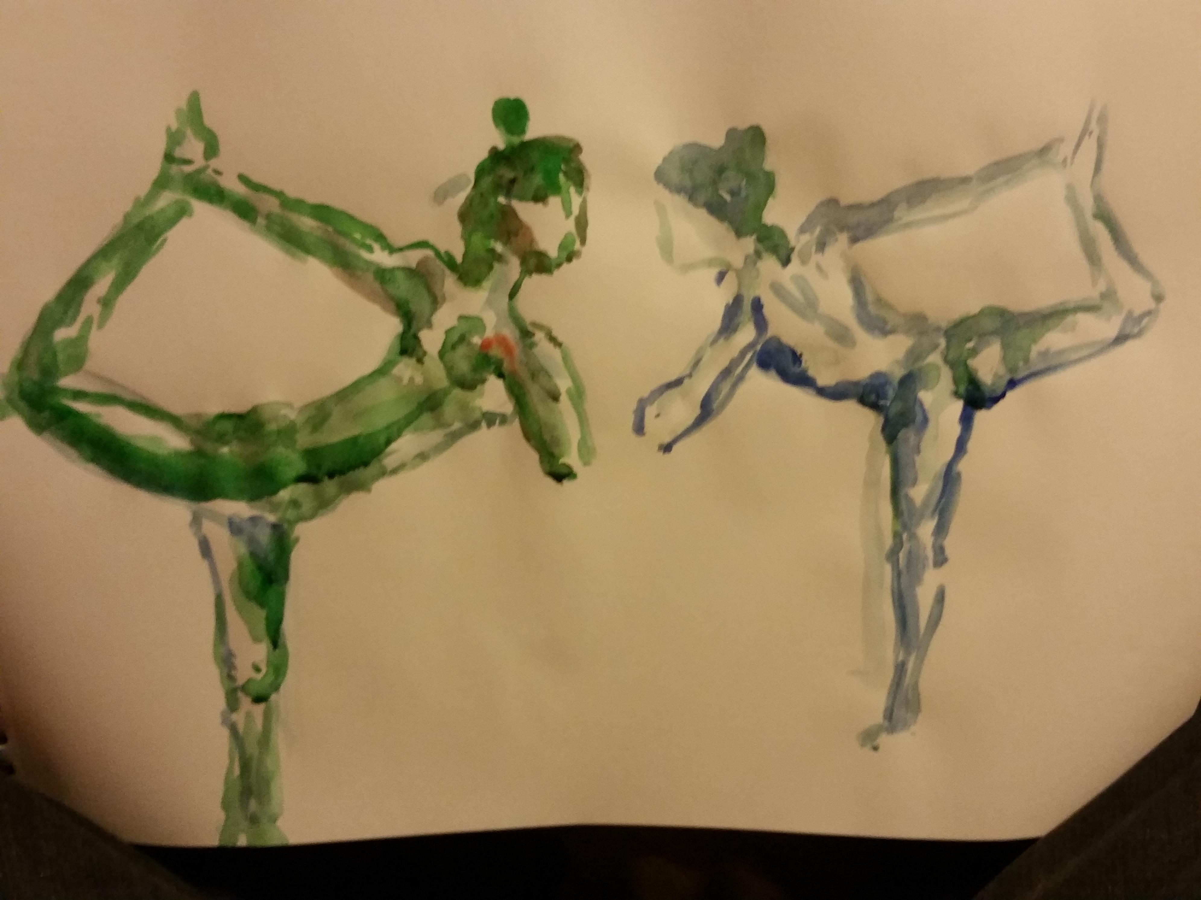 Dessin en miroir aquarelle mod�le vivant vert  cours de dessin