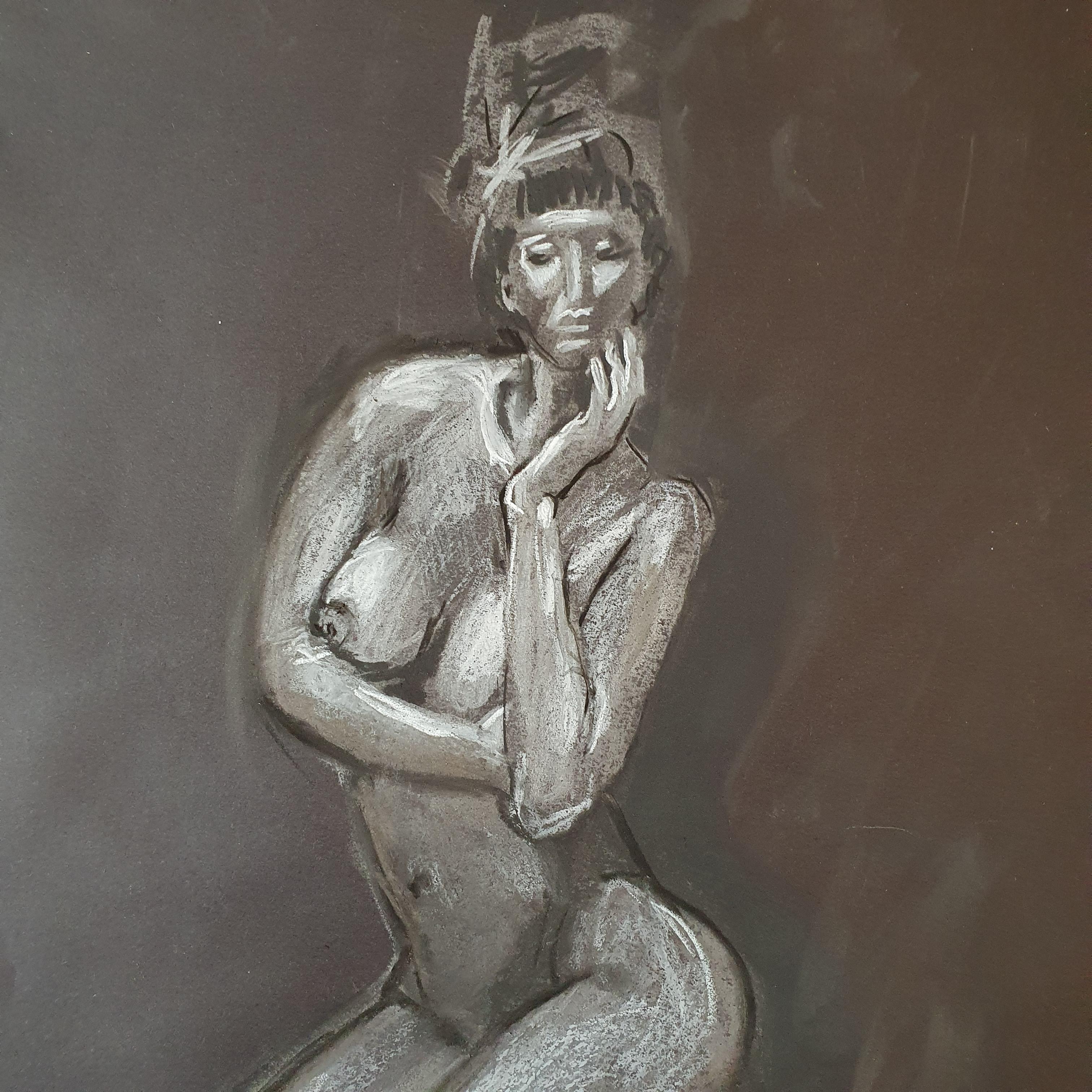 Dessin craie blanche sur papier noir r�ausse au fusain  cours de dessin