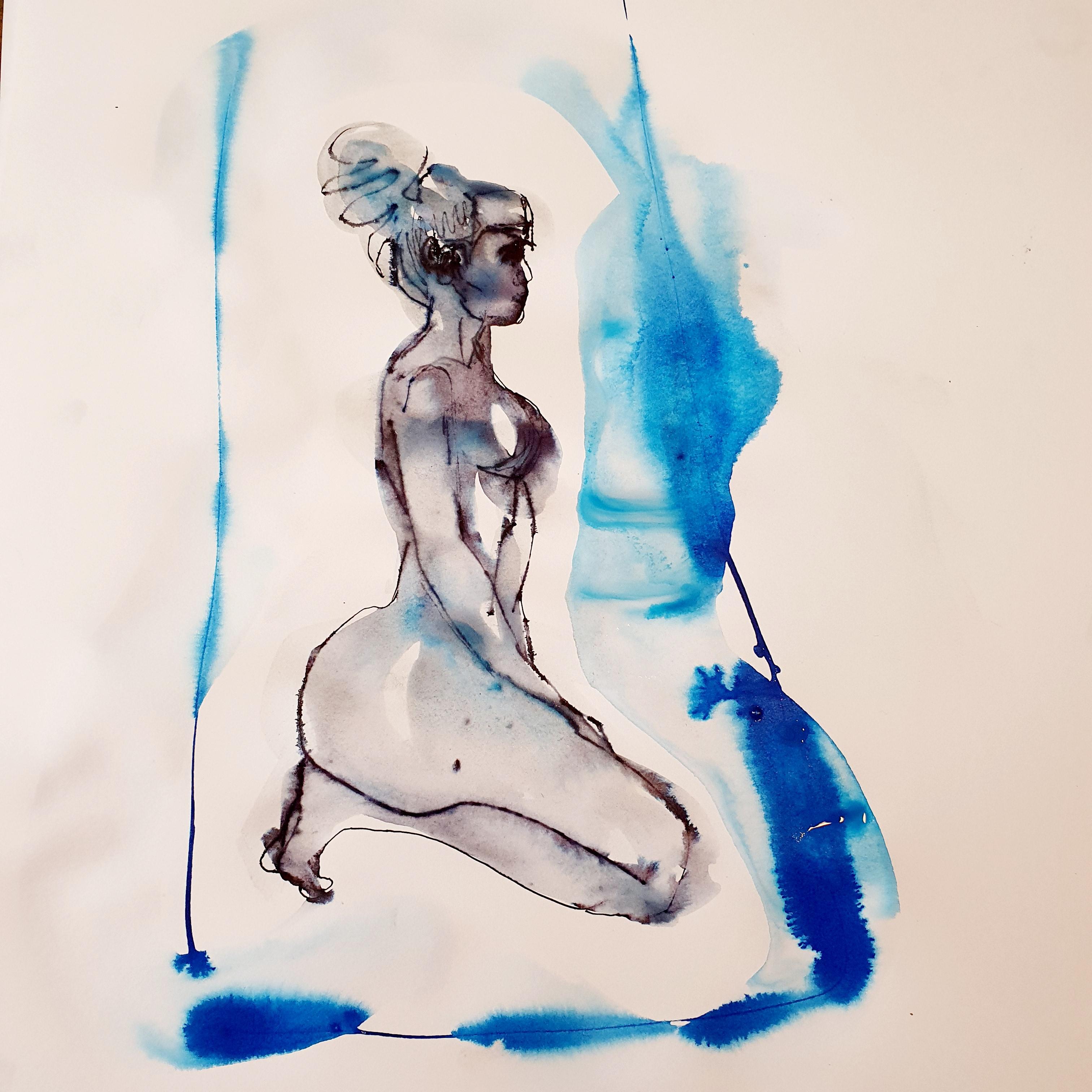 Technique mixte plume encre de Chine aquarelles bleue mod�le vivant femme profil  cours de dessin