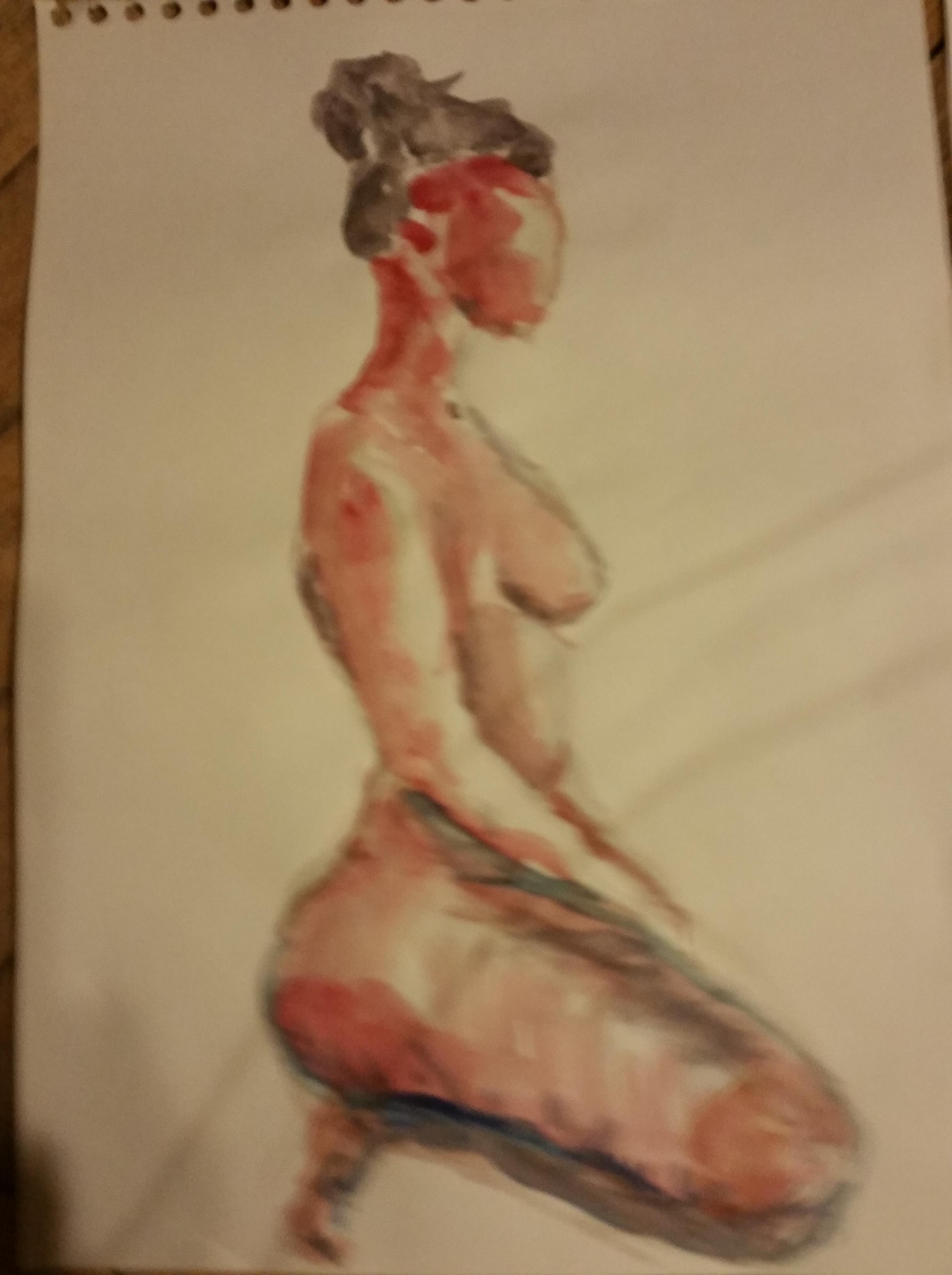 Mod�le vivant profil aquarelle rouge  cours de dessin
