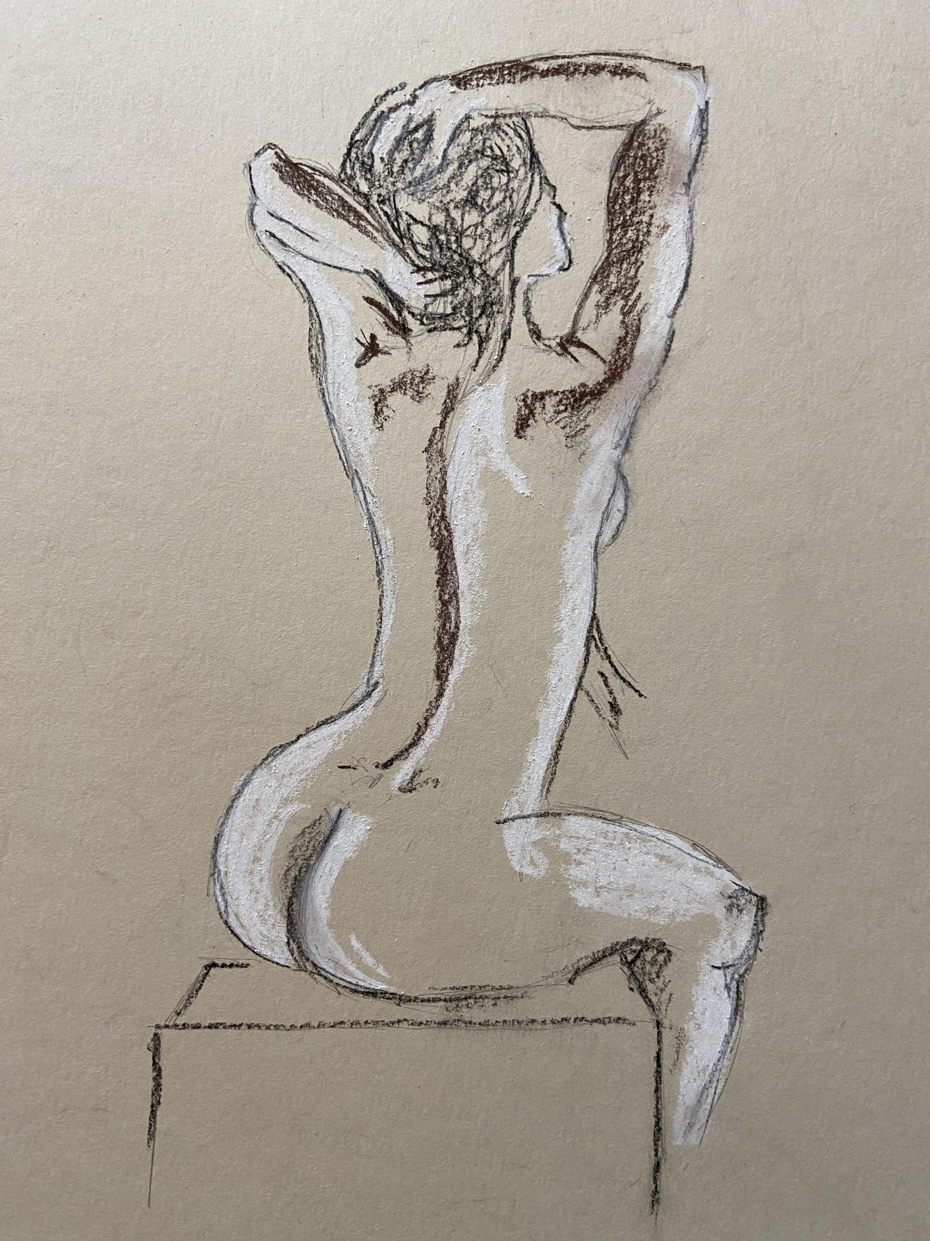 Pause assise trois quarts dos craie blanche et fusain croquis  cours de dessin
