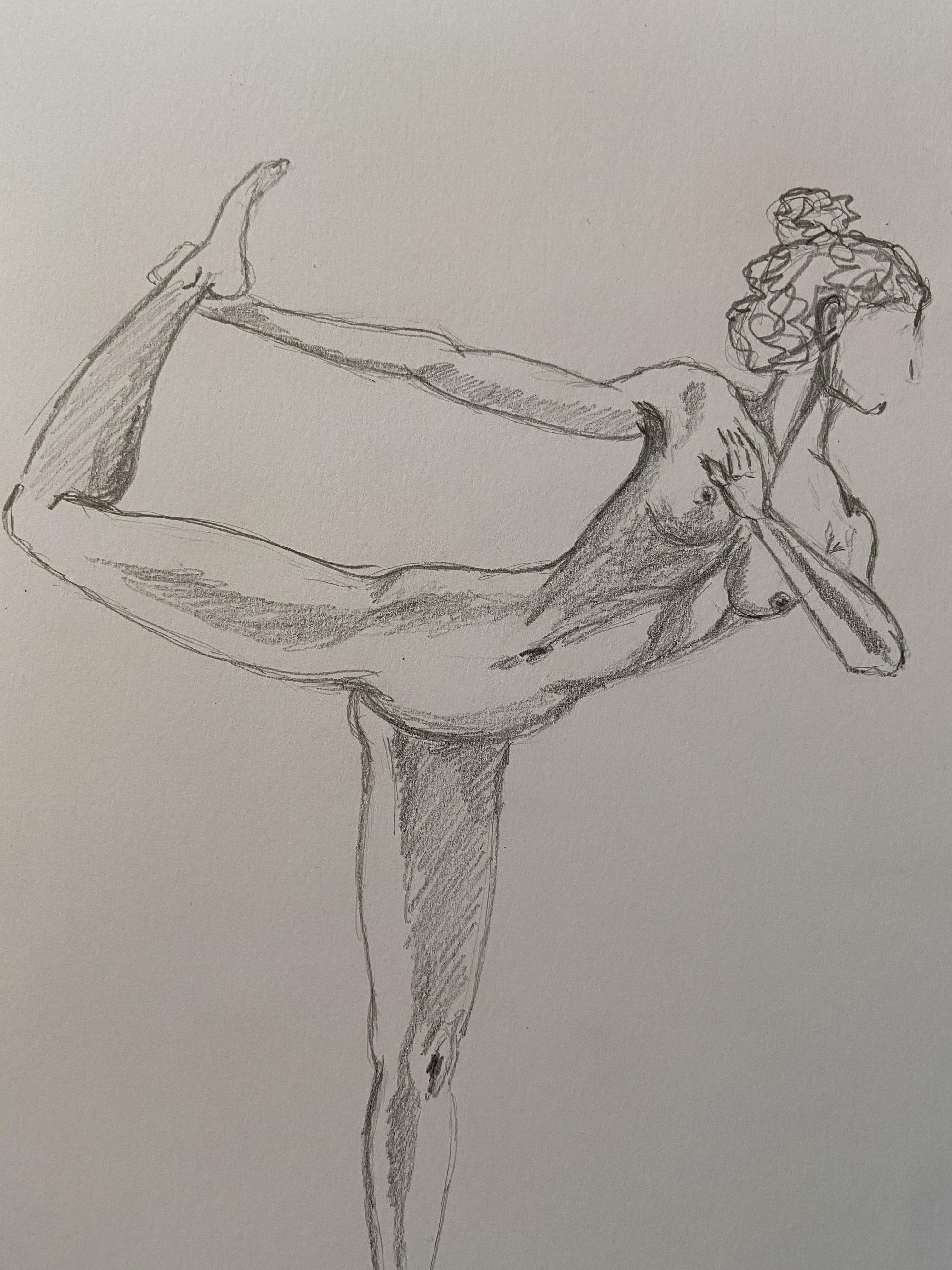Dessin valeurs au graphite sur papier gris danseuses nu  cours de dessin