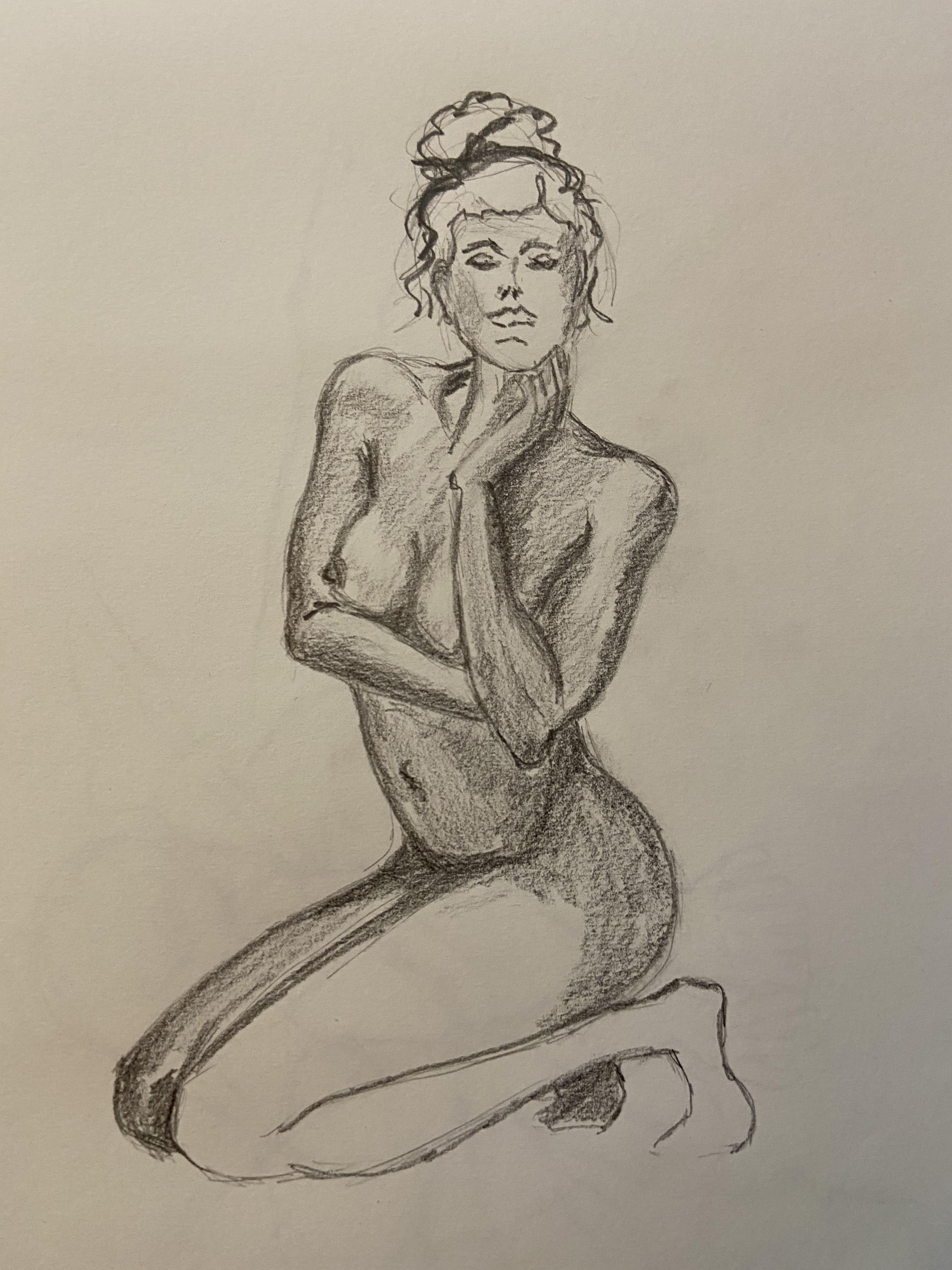 Dessin Pierre noir trois quarts face pose assise  cours de dessin