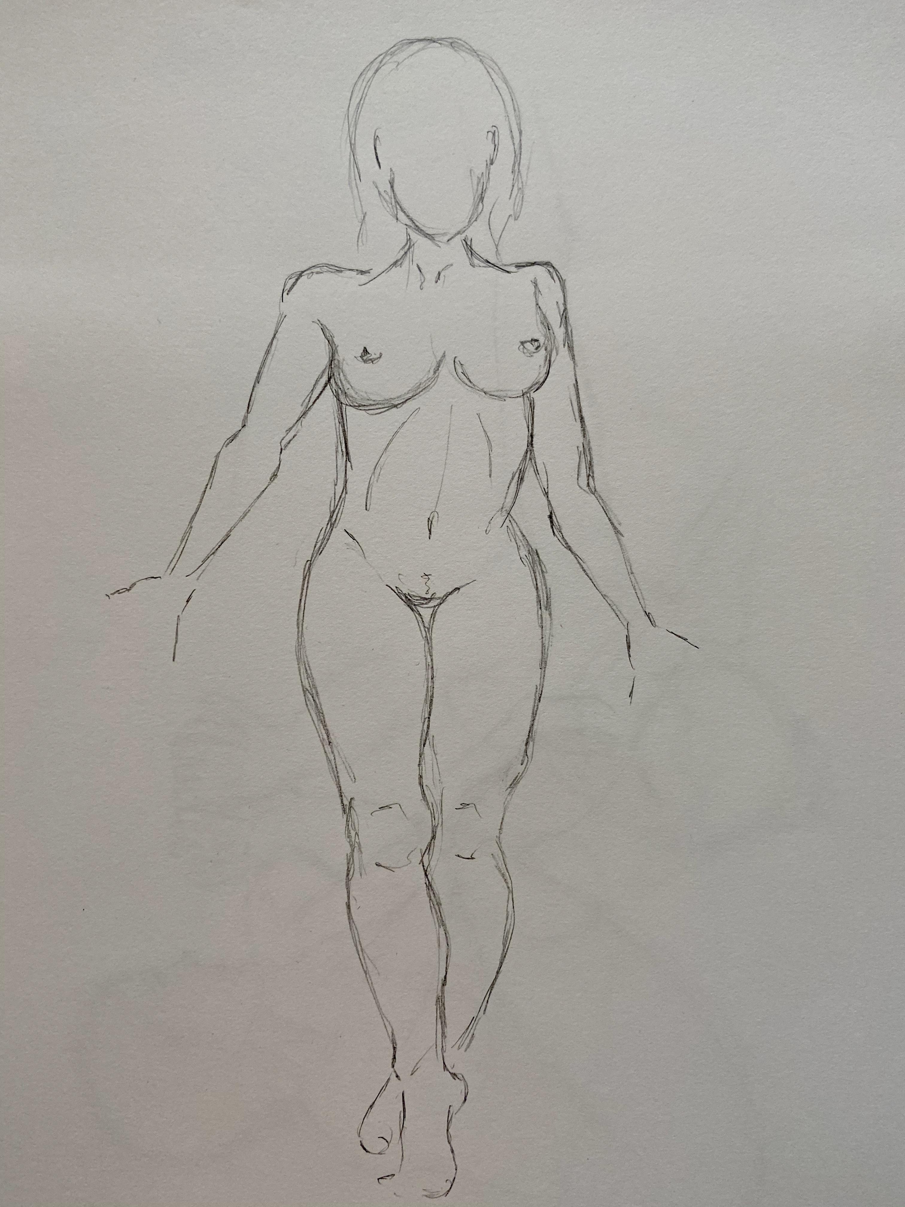 Croquis rapide dessin au trait face  cours de dessin
