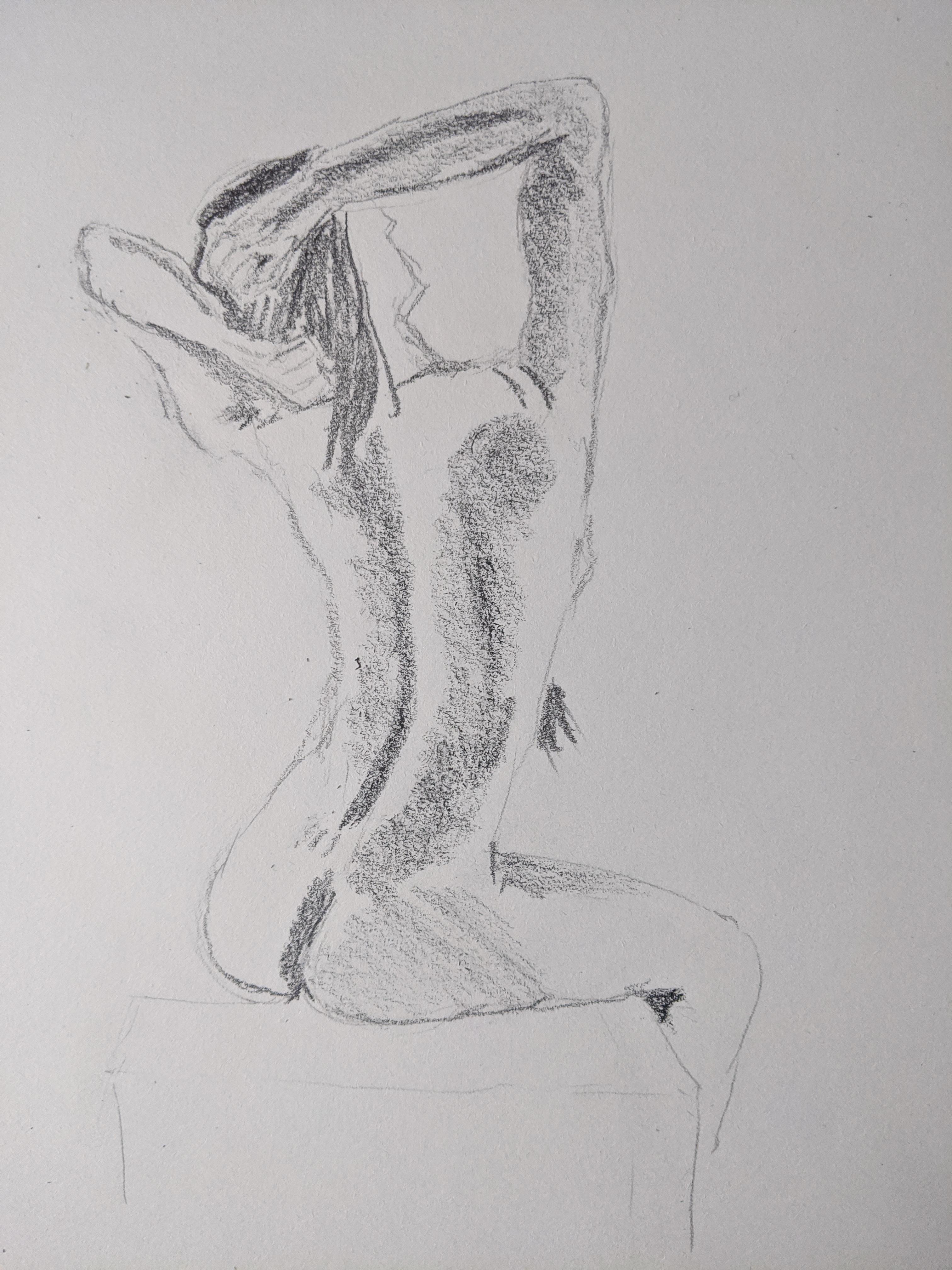 Dessin graphite trois quarts dos Assise  cours de dessin