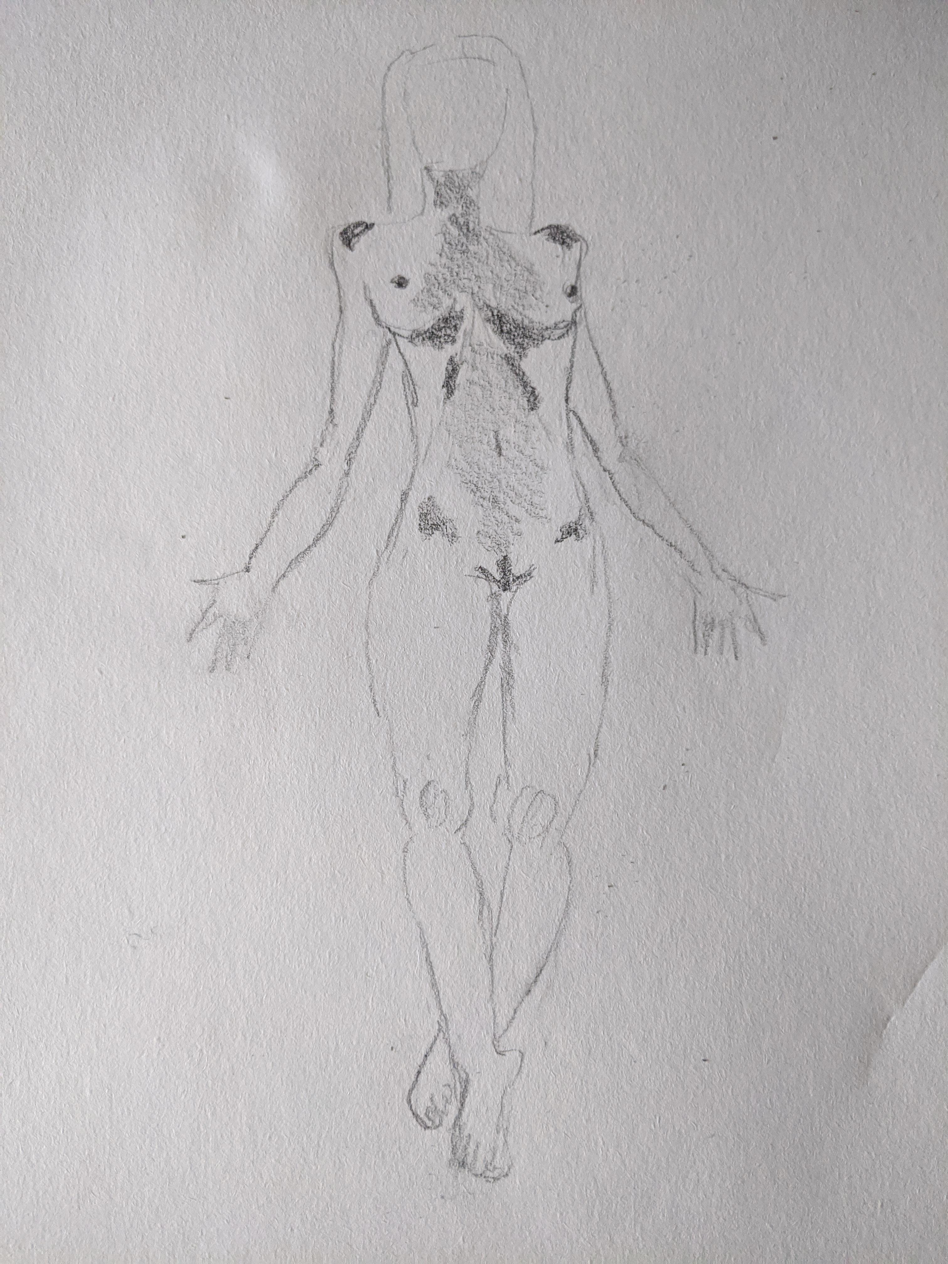 Croquis mod�le vivant femme en pied  cours de dessin