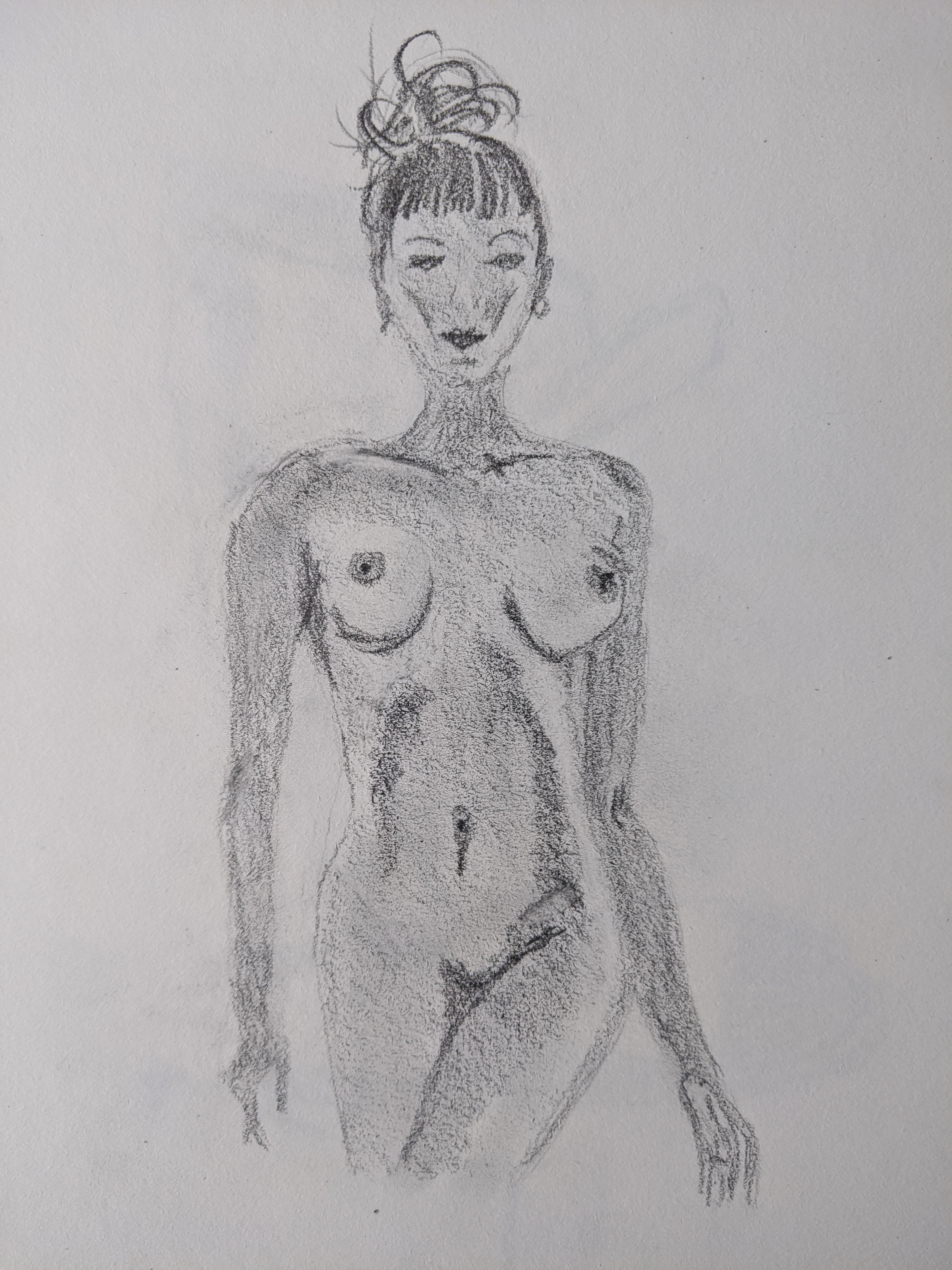 Mod�le vivant crayon papier dessin femme debout plan am�ricain  cours de dessin