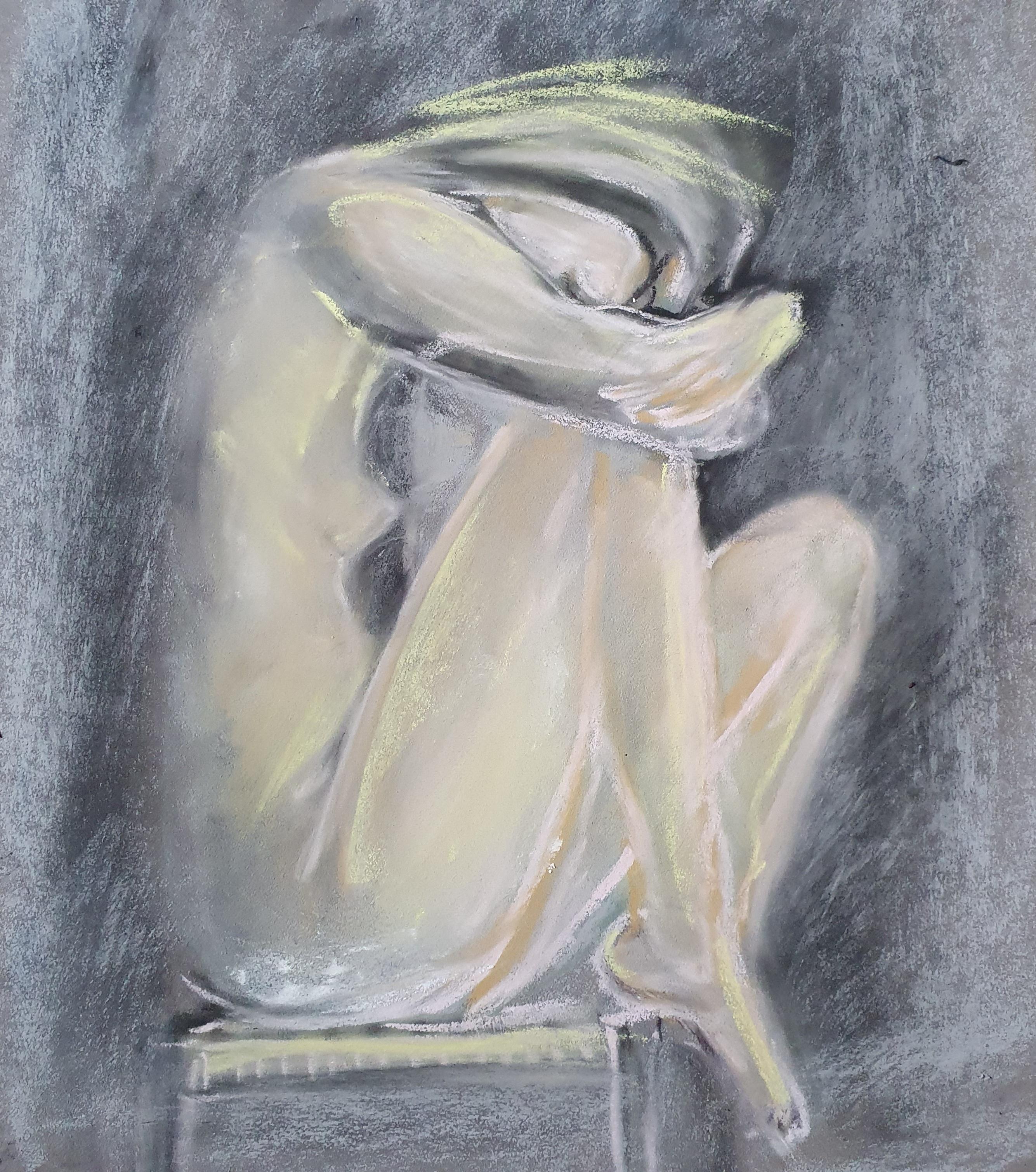Dessin pastel poses regroup�es femmes nues assise  cours de dessin