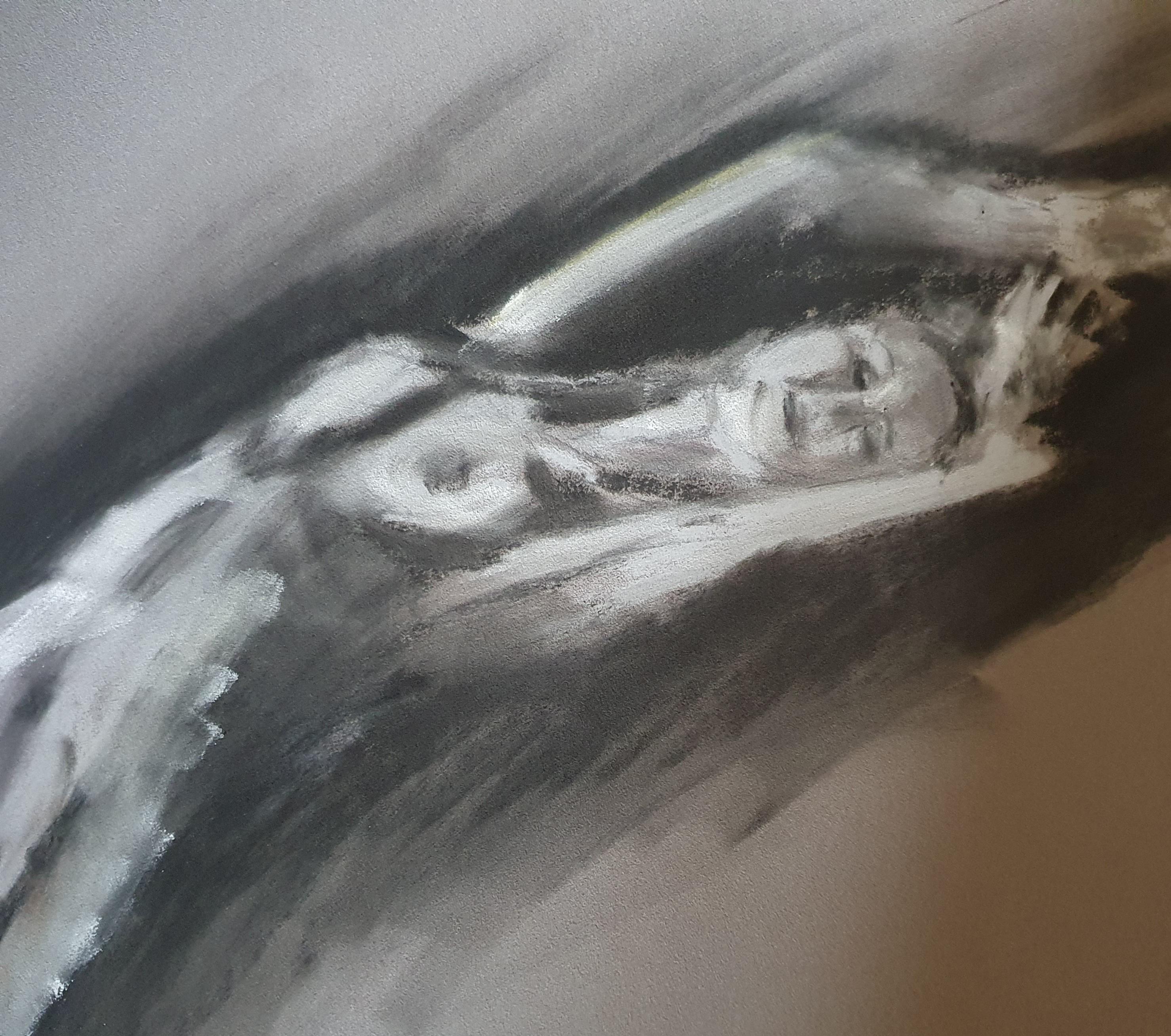 Dessin pastel noir et blanc sur papier gris   cours de dessin