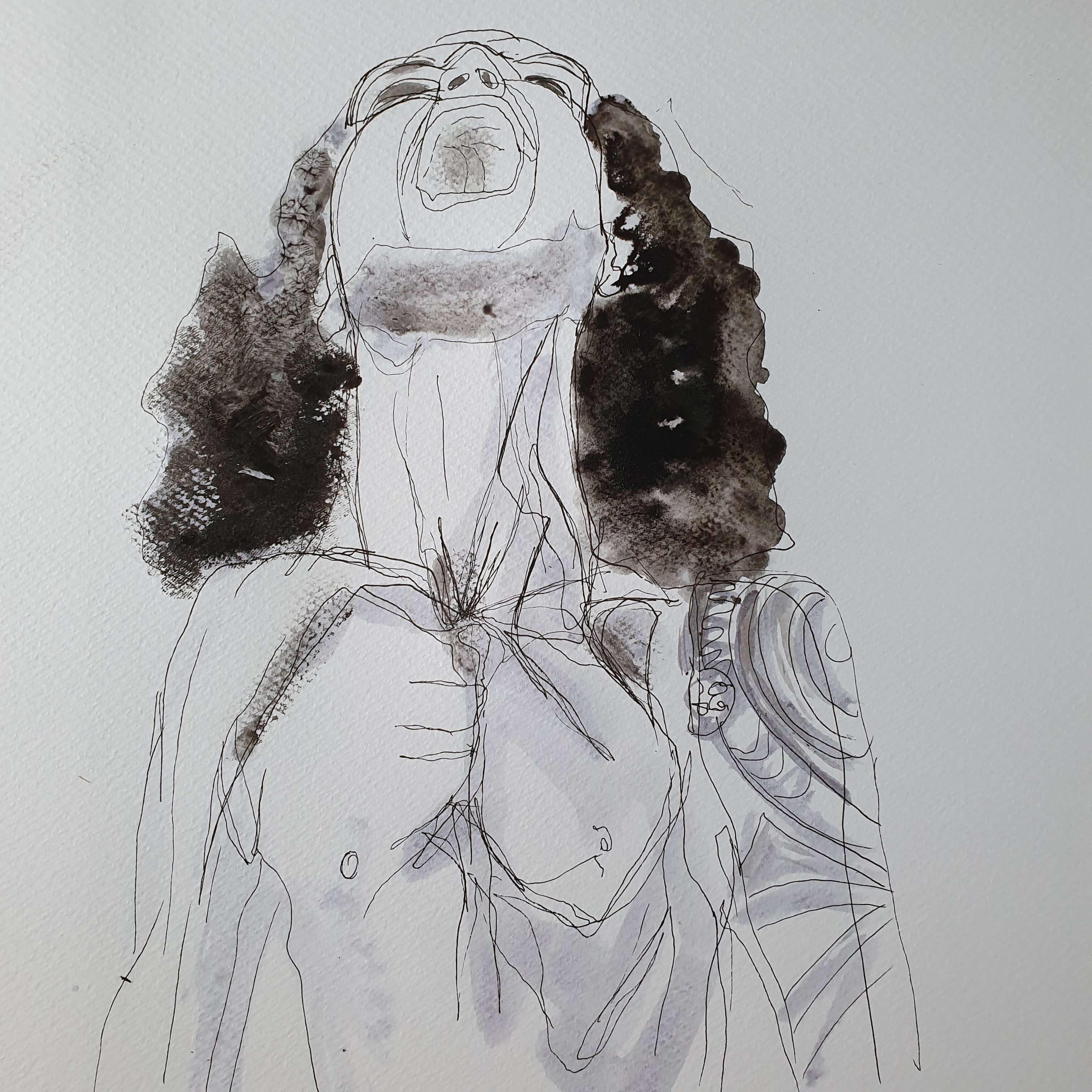 Dessin � la plume et aquarelle portraits  cours de dessin