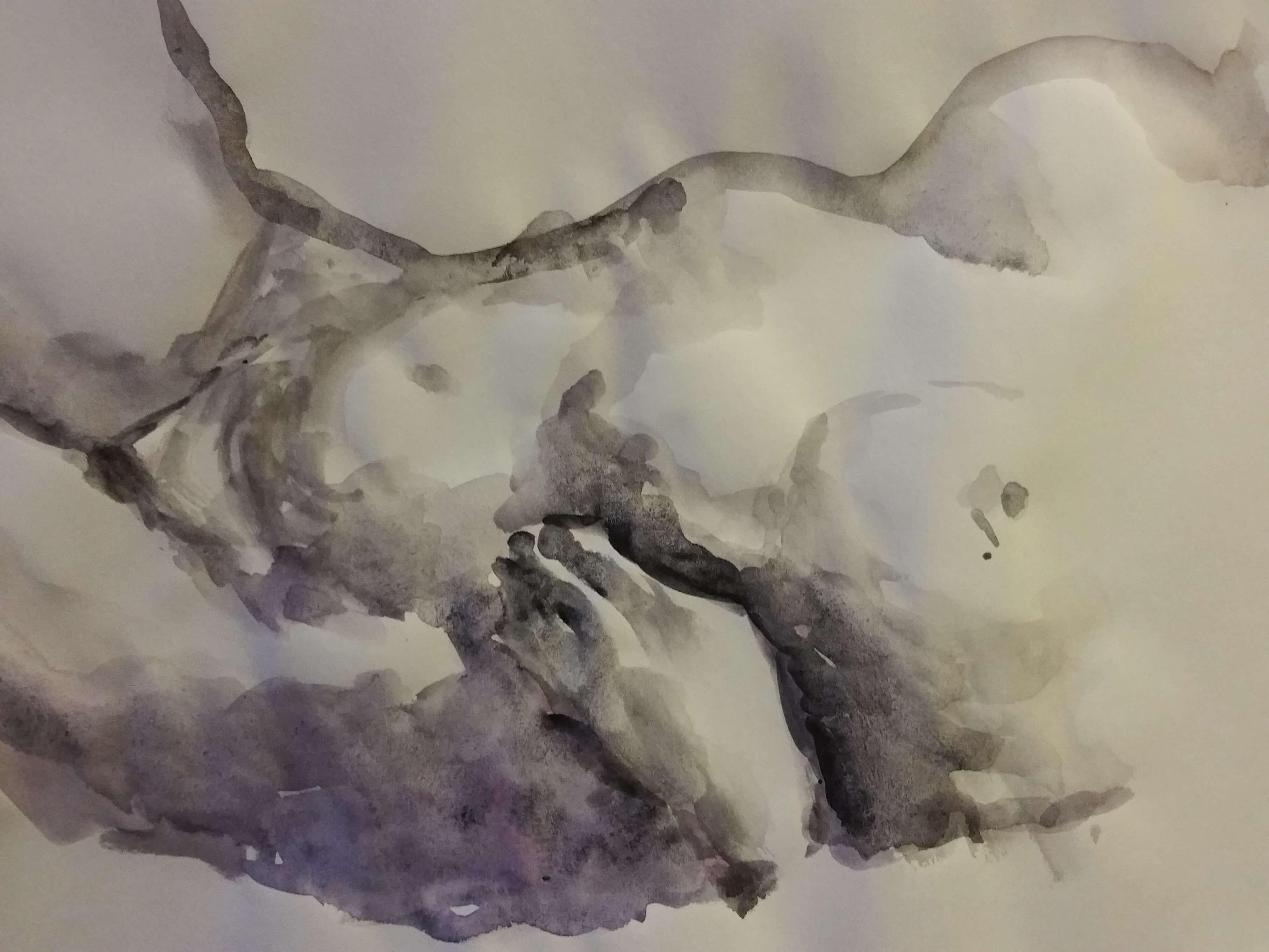 Buste aquarelle noir et violet  cours de dessin