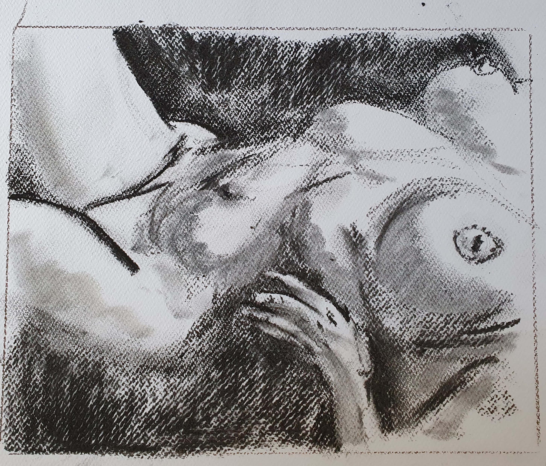 Buste femme pastel noir  cours de dessin