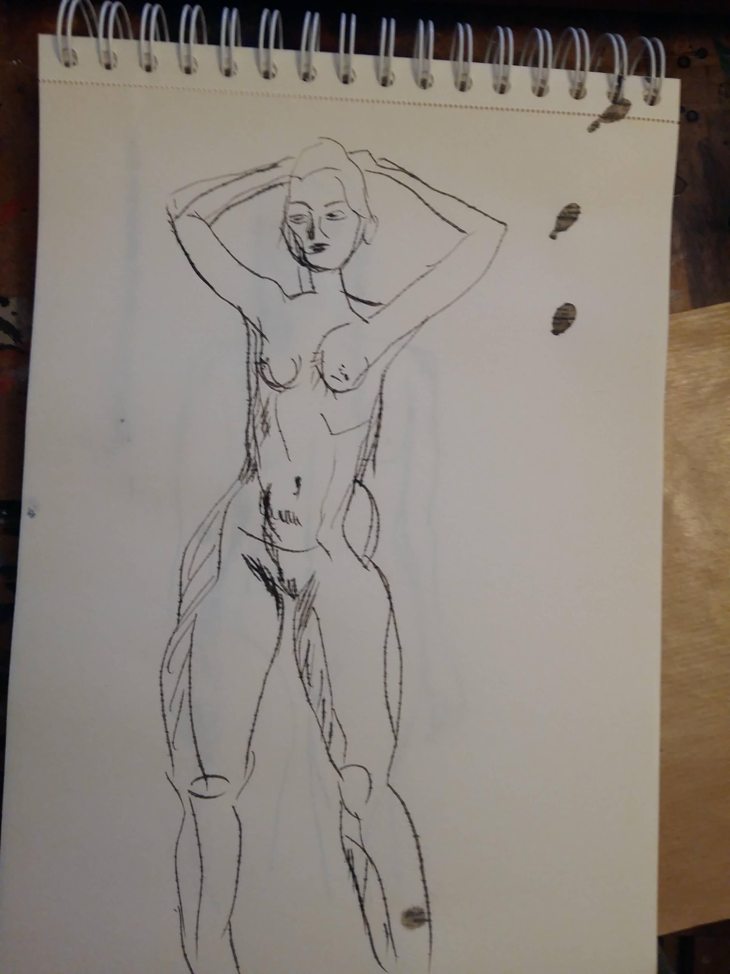 Dessins � l'encre mod�le vivant nue femme debout  cours de dessin