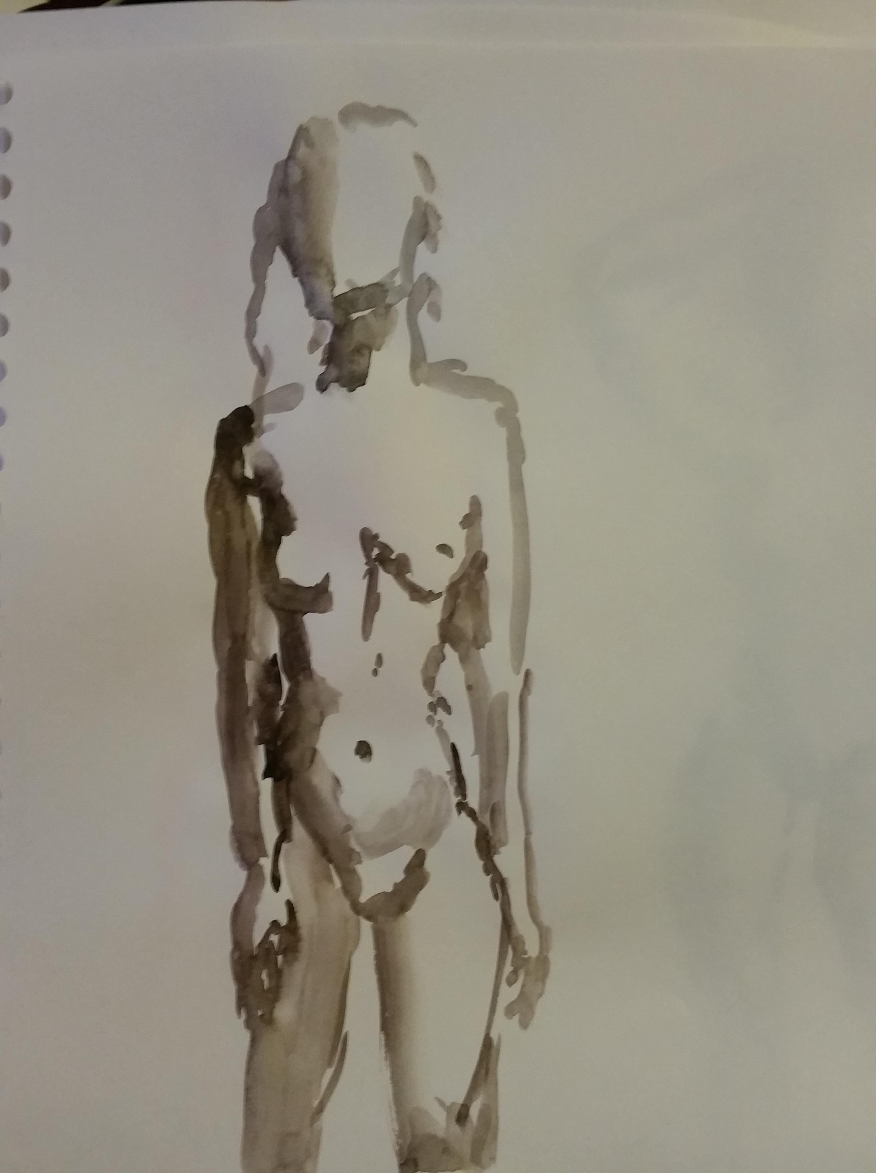Esquisse aquarelles marron sur papier  cours de dessin