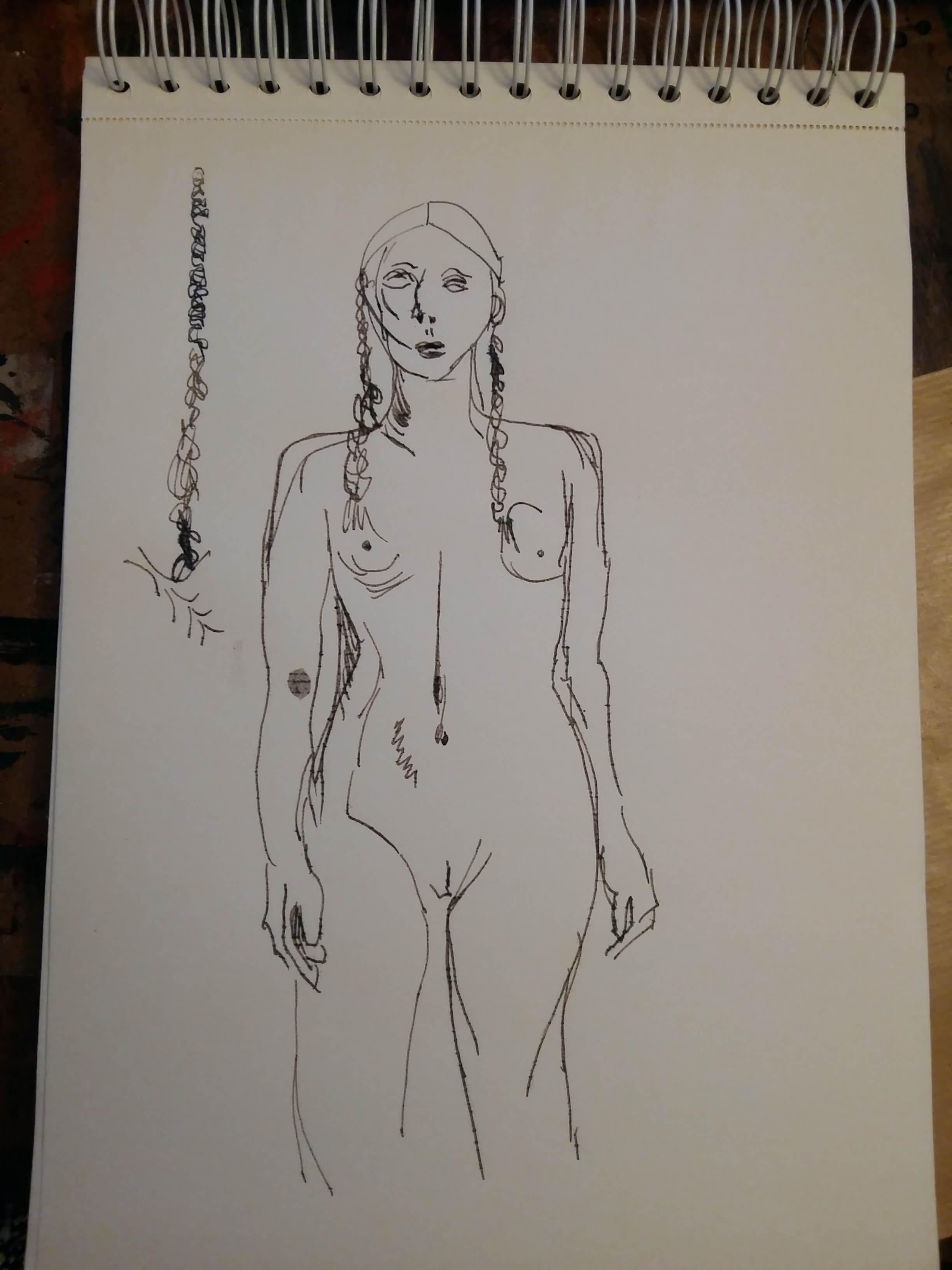 Croquis au feutre buste de femme nue  cours de dessin