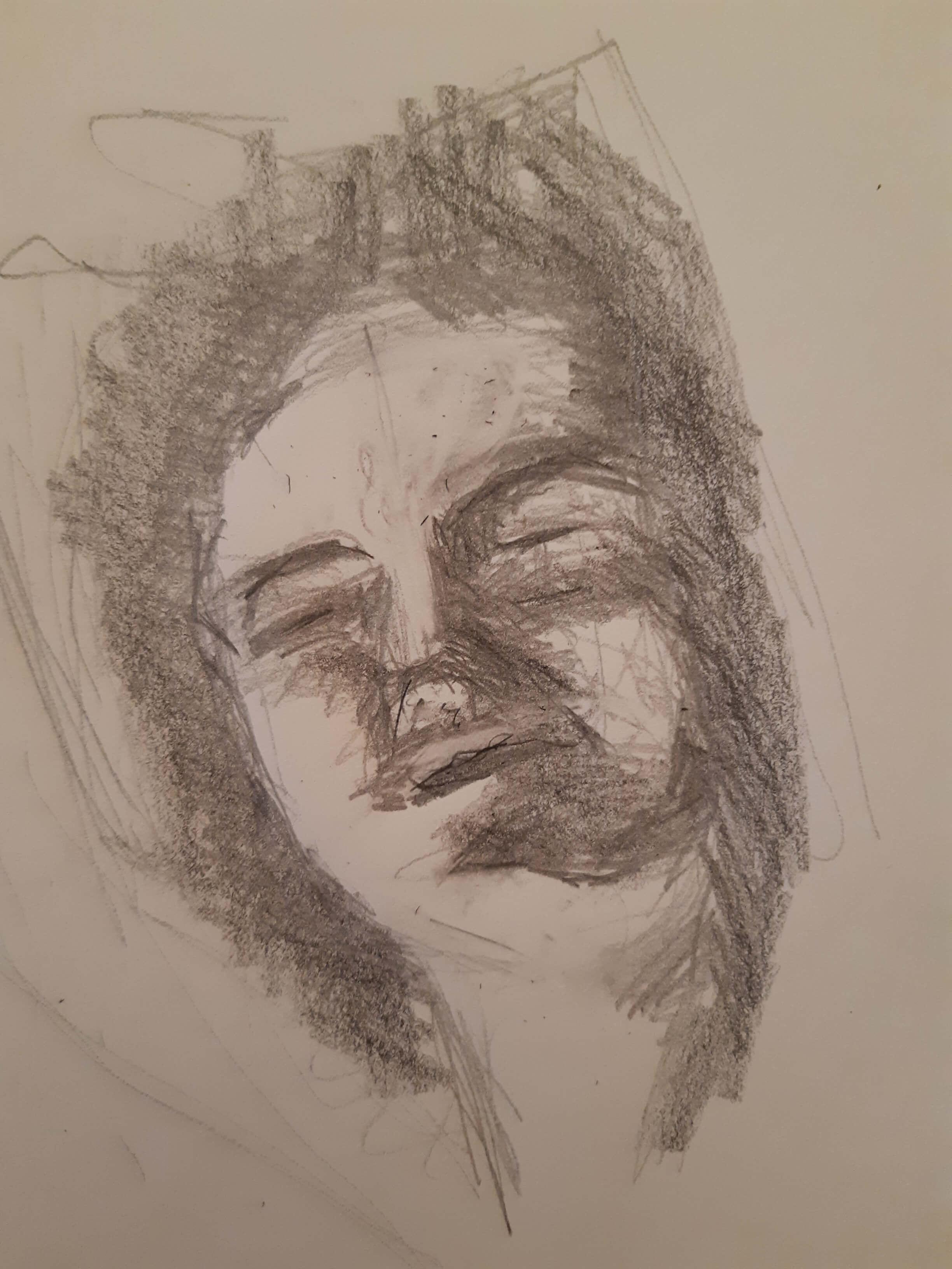 Portrait hachures graphite  cours de dessin