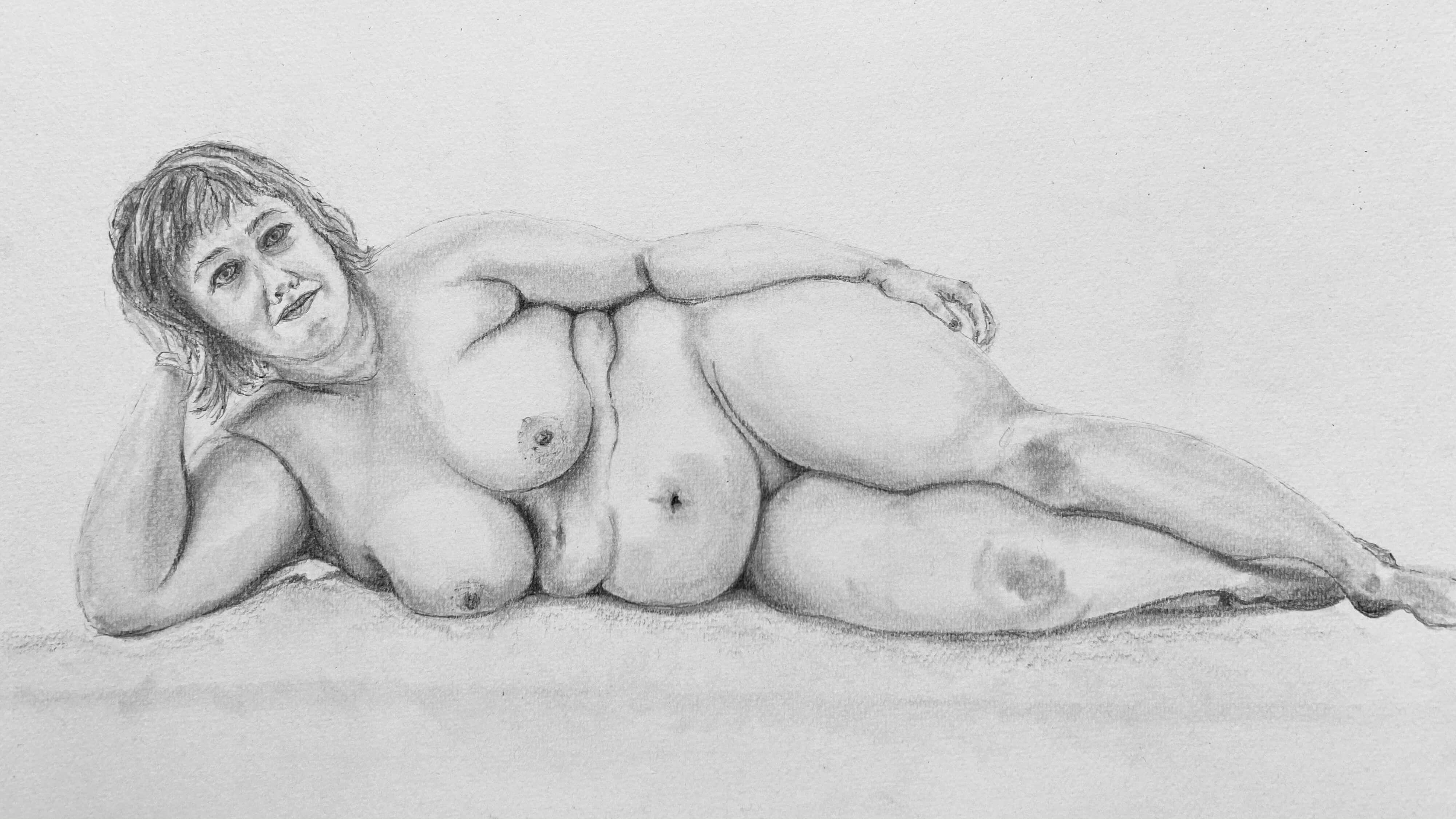 Dessin fusain mod�le allong� femme  cours de dessin