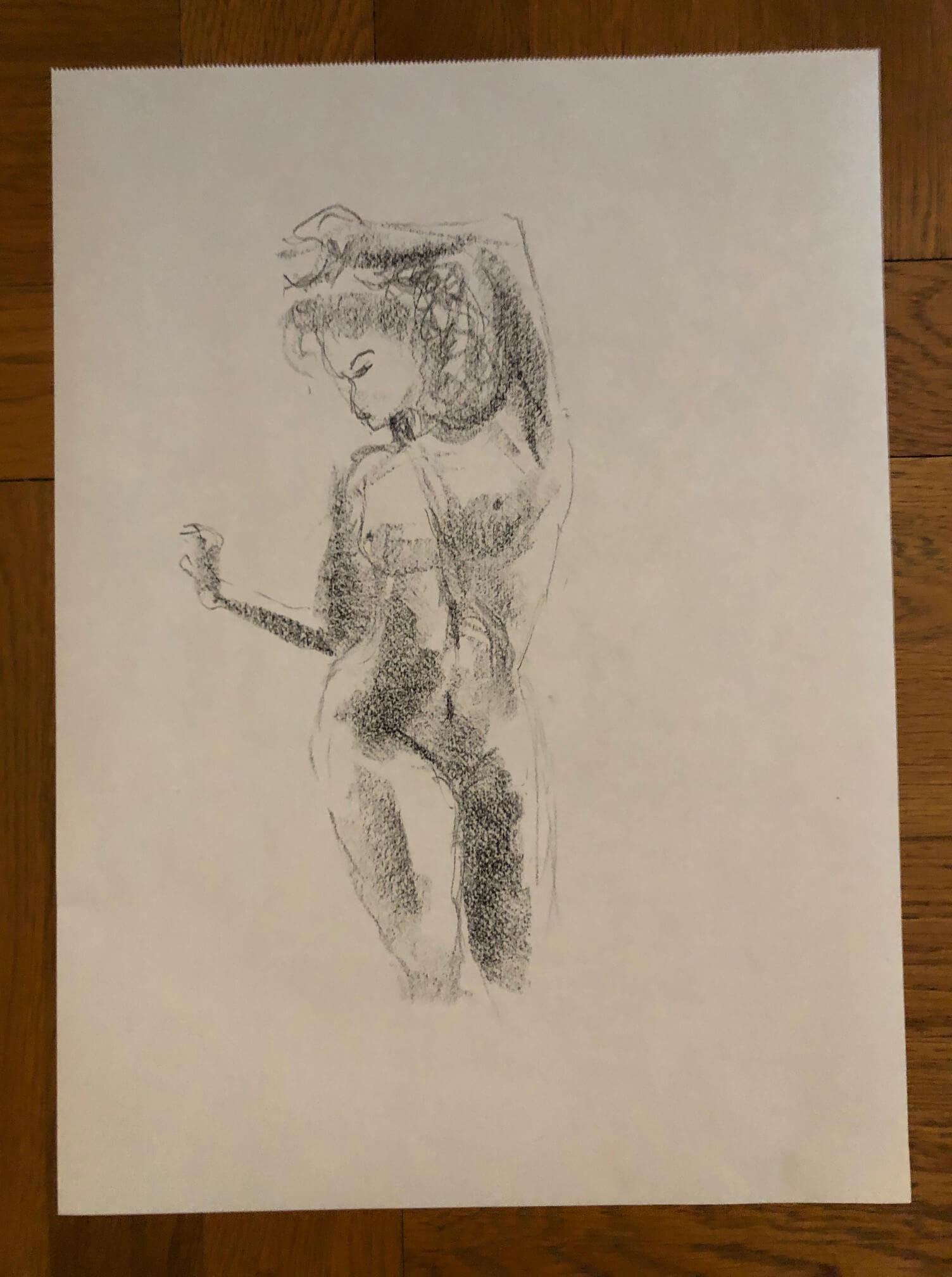 Croquis fusain en valeur de gris buste femme  cours de dessin