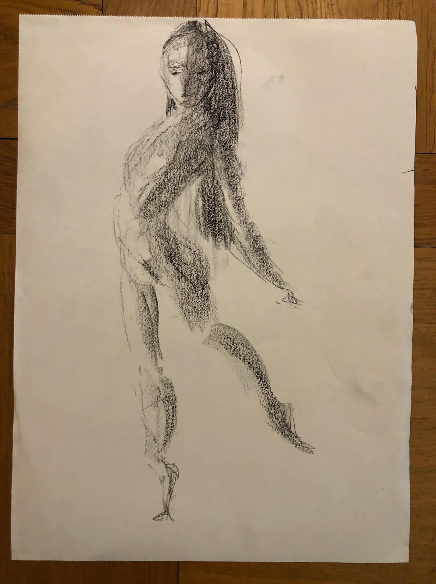 Dessin danseuse femme fusain  cours de dessin