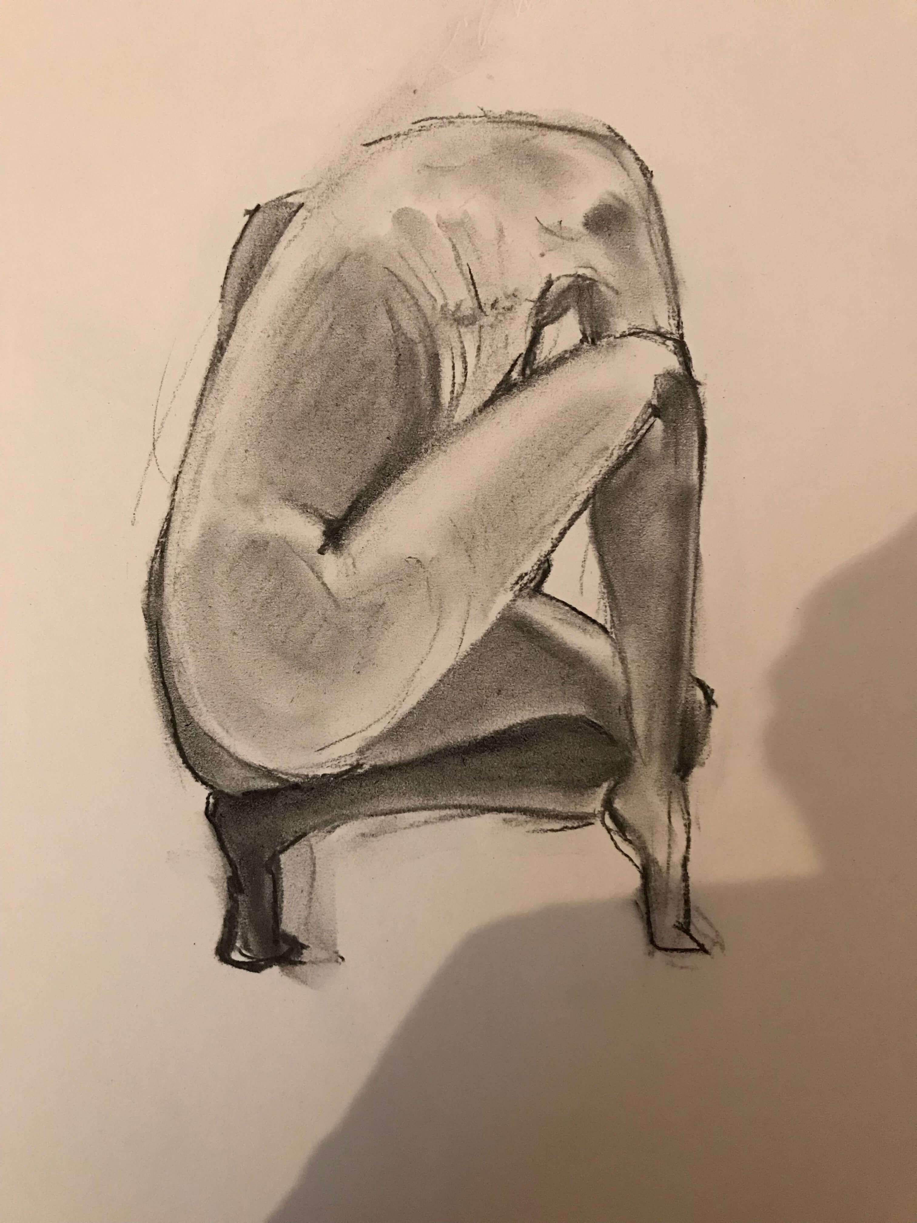 Poses regroupées fusain femme croquis  cours de dessin