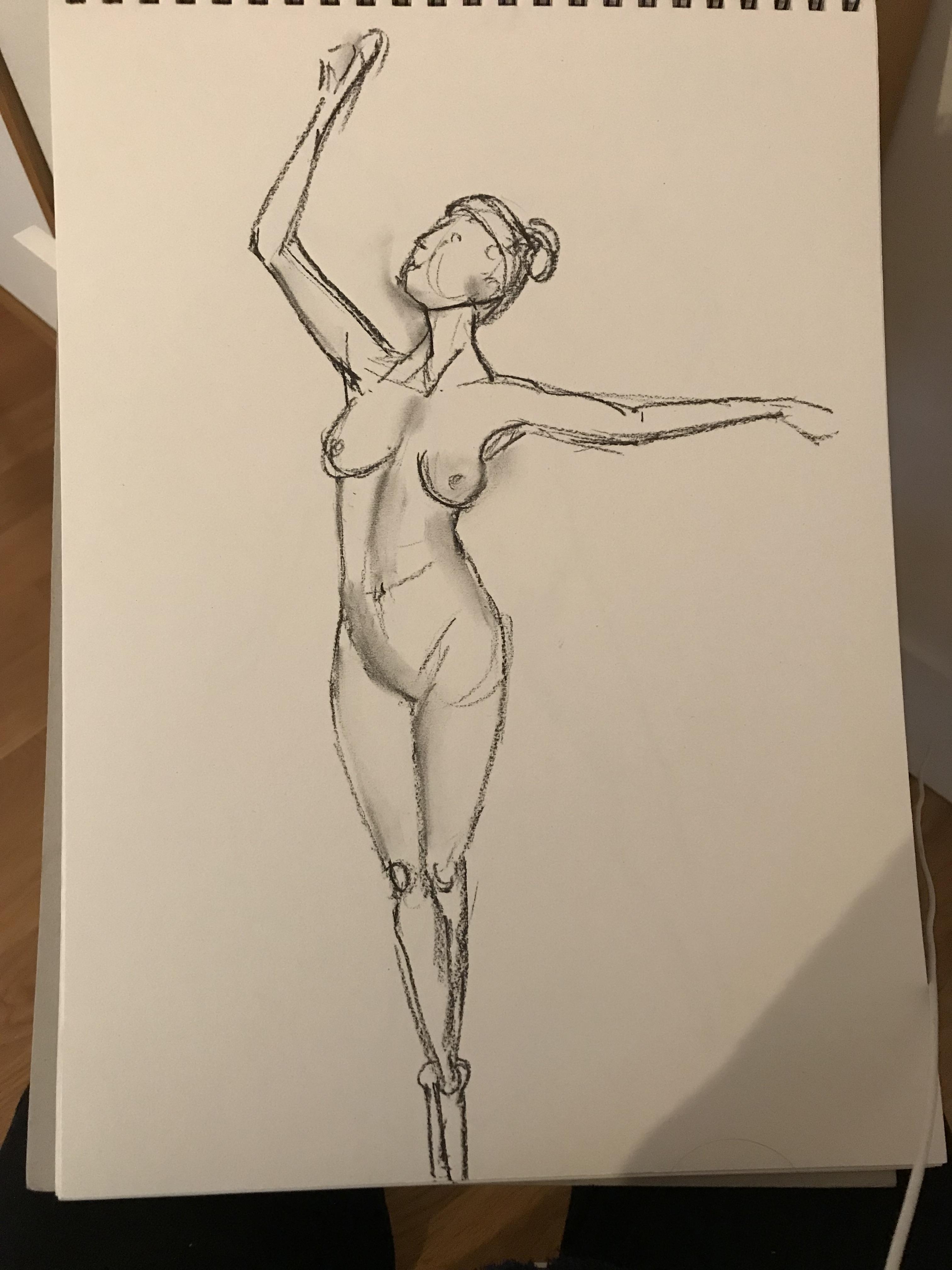 Esquisse danseuse fusain trois quarts face pointe  cours de dessin