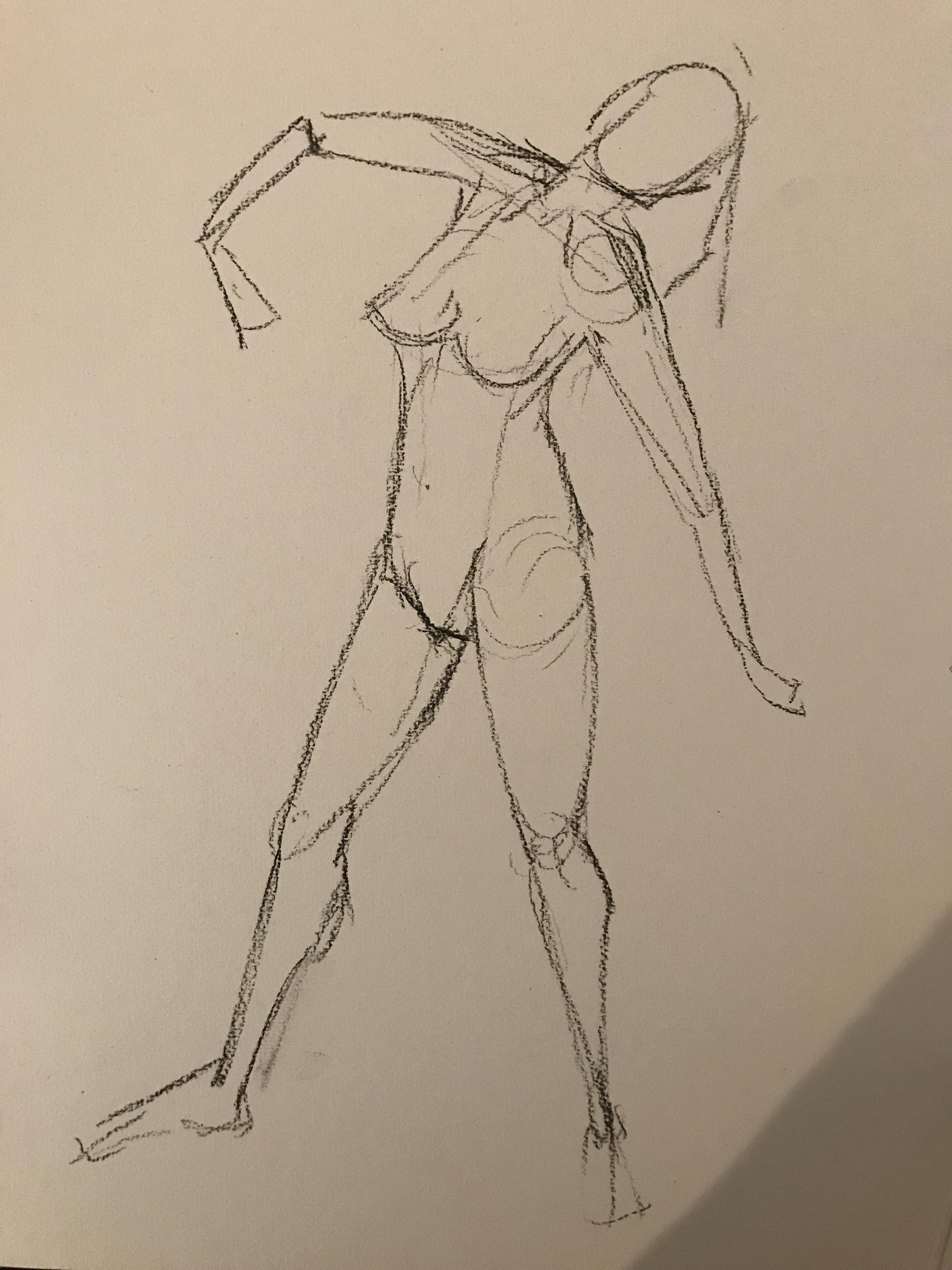 Construction modèle vivant 3/4 face femme dessin  cours de dessin