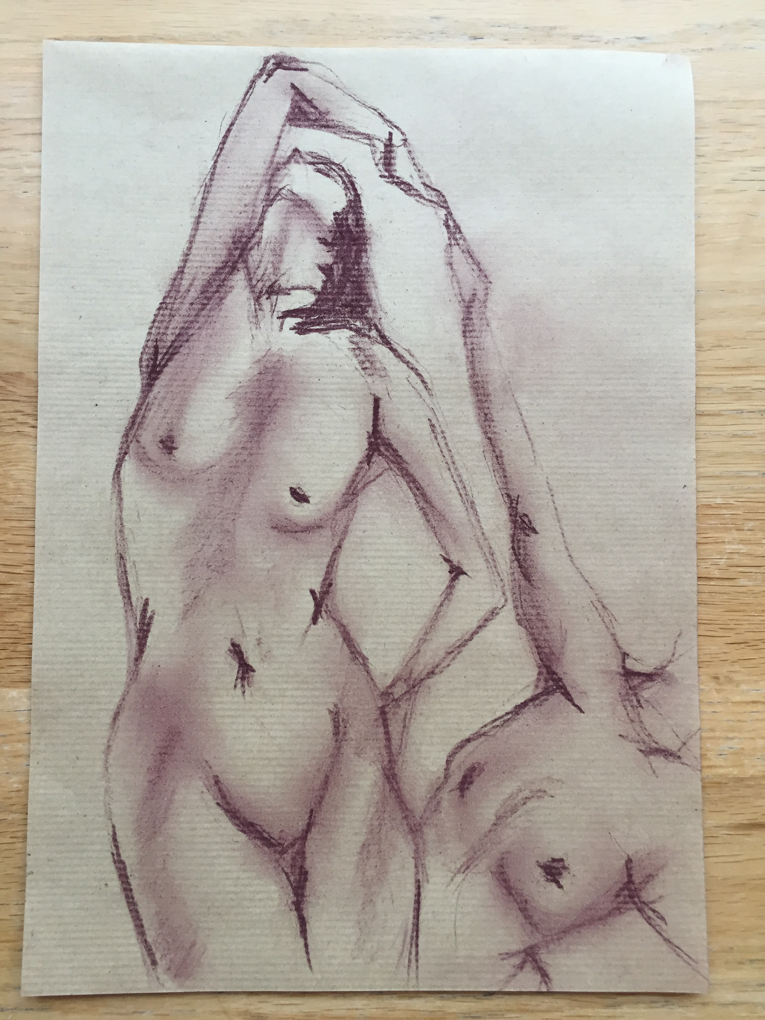 �bauche pastel violette mod�le vivant nue femme  cours de dessin