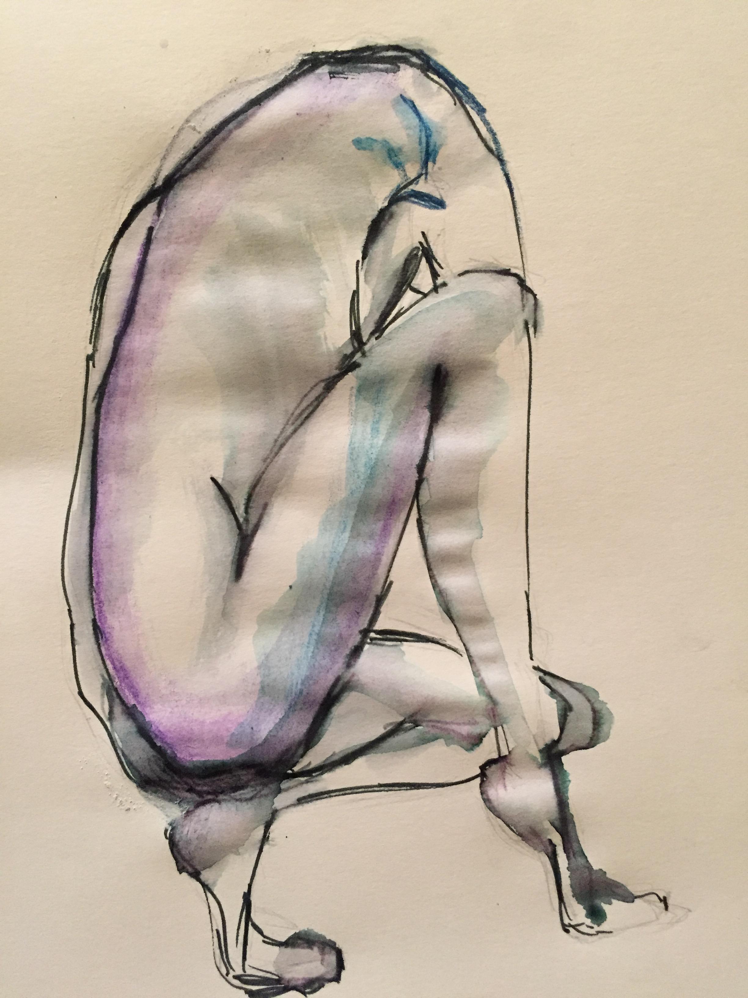 Dessin mod�le vivant poses regroup�es feutre aquarelle  cours de dessin