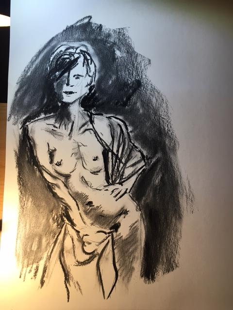 Esquisse fusain mod�le vivant portrait nu  cours de dessin