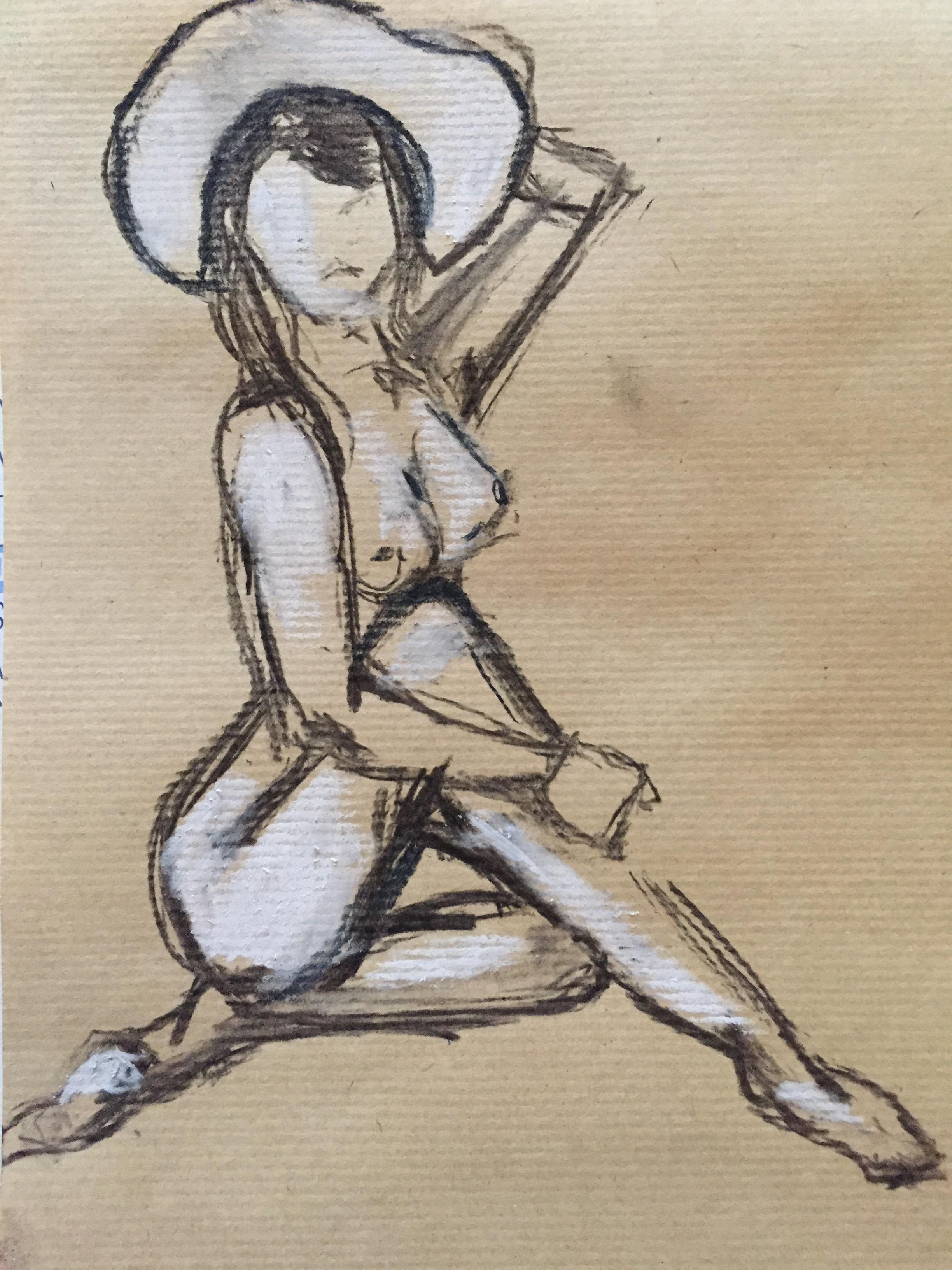 Dessin mod�le vivant femme assise avec chapeau fusain et pastel blanc  cours de dessin