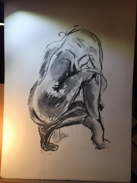 Dessin au fusain pose regrouper mod�le vivant nu  cours de dessin
