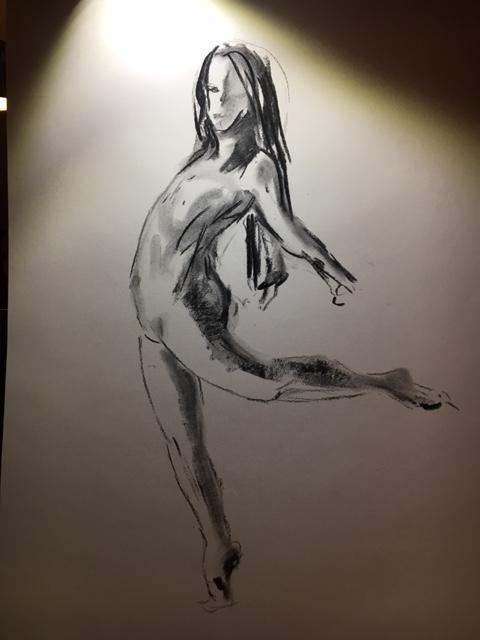 Dessin estompe fusain danseuse  cours de dessin
