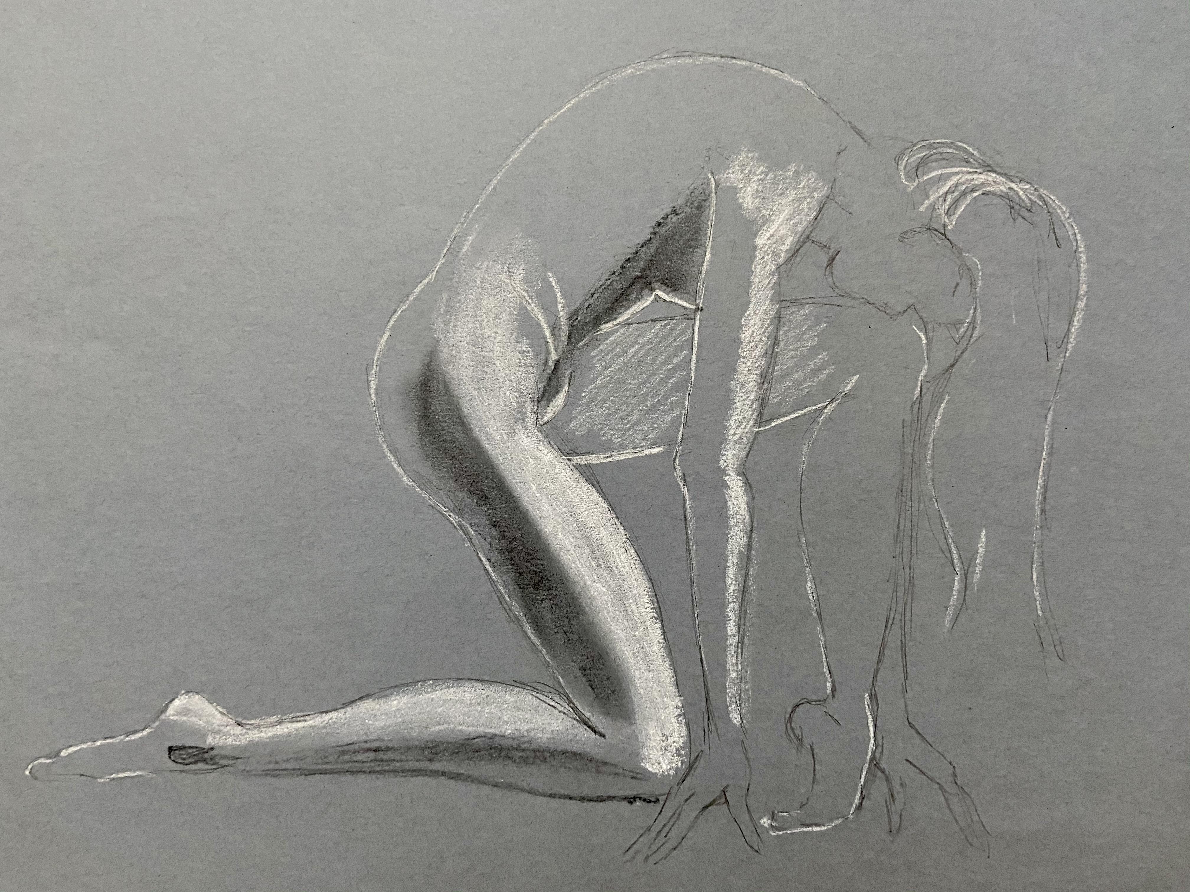 �bauche dessin mod�le vivant fusain pastel blanc sur papier gris  cours de dessin