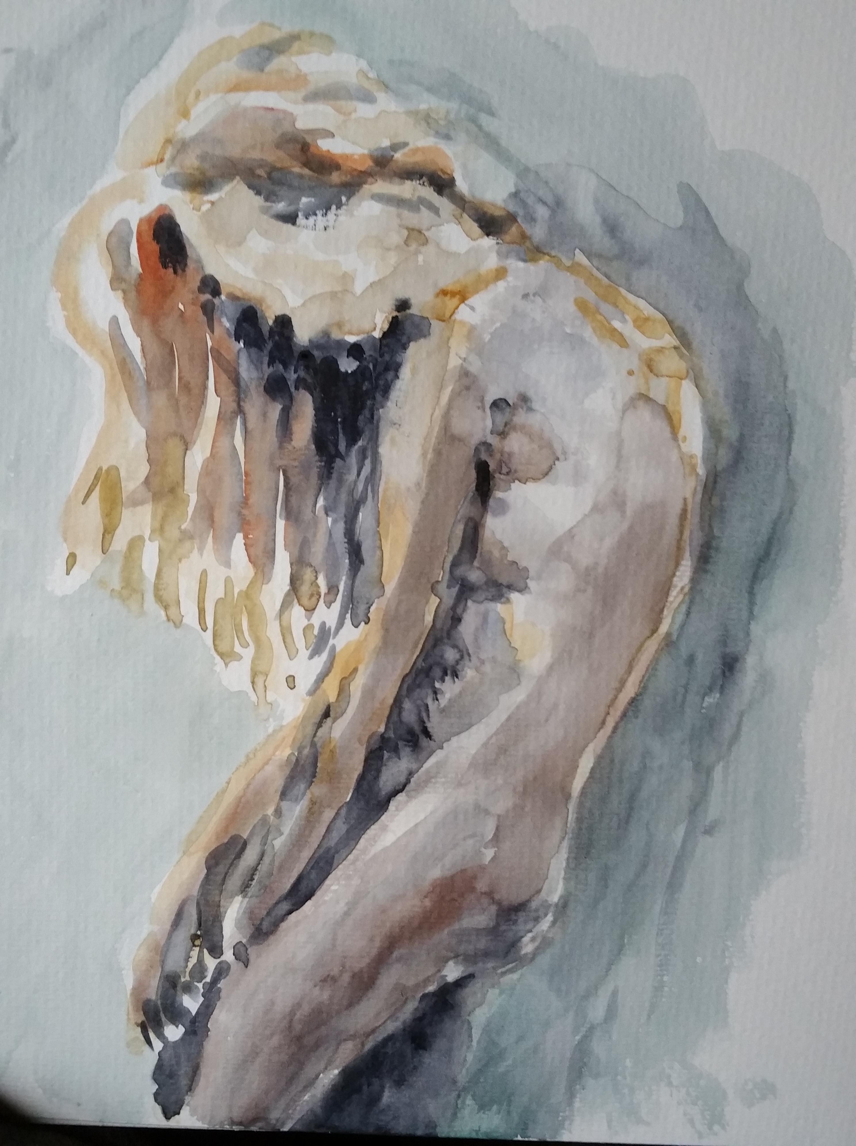 Aquarelle pose arquée femme nue  cours de dessin